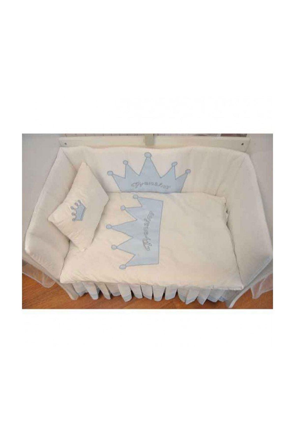 Anne Yanı Bebek Beşiği İçin Mavi Taçlı Uyku Seti