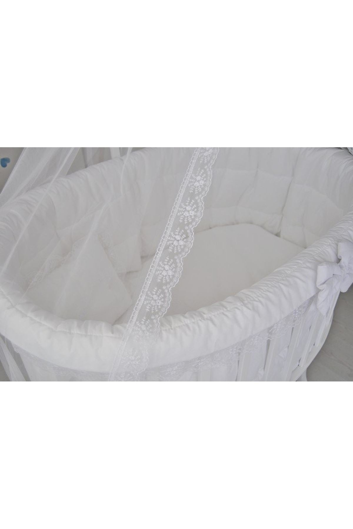 White Basket Crib White French Lace Cover Set