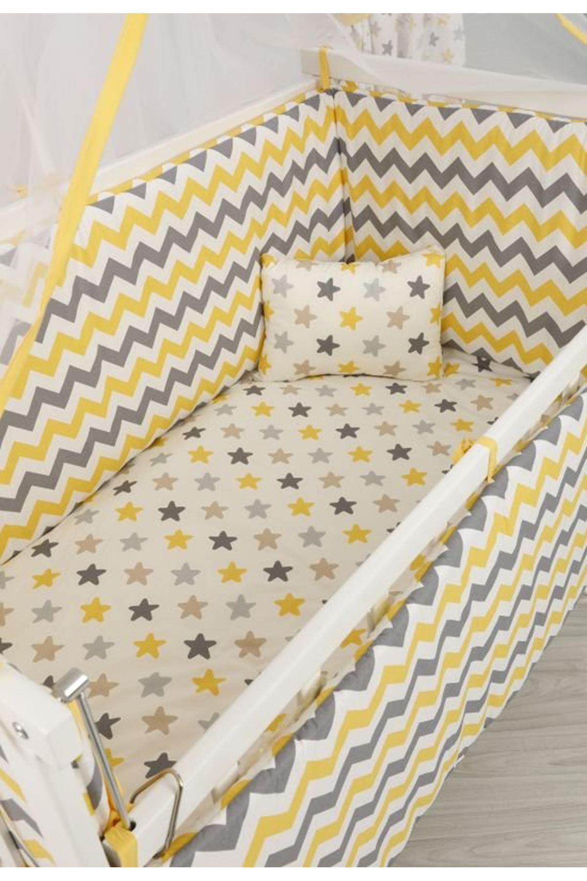 سرير أبيص مستطيل 5 سنوات قماش زيكزاك أصفر