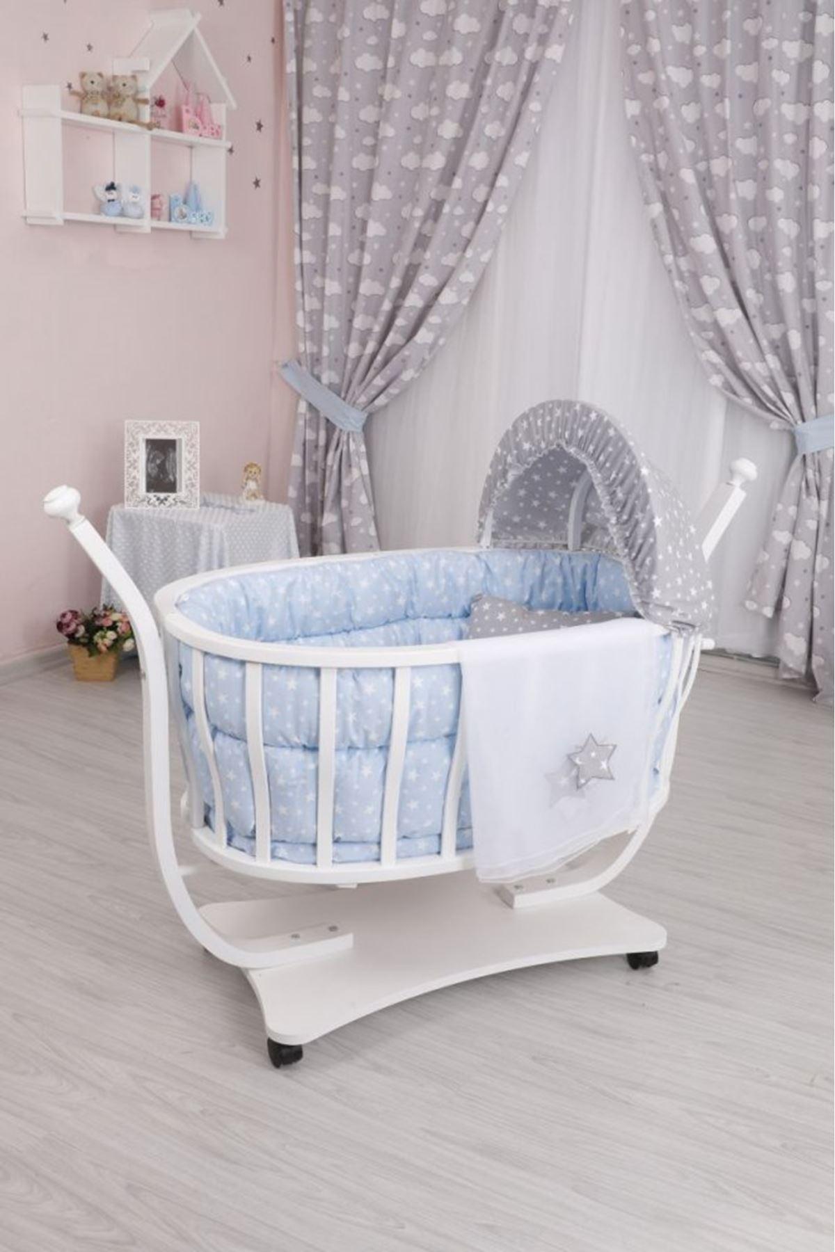 Mavi Yıldızlı Uyku Seti ile Beyaz Ahşap Mira Sepet Beşik