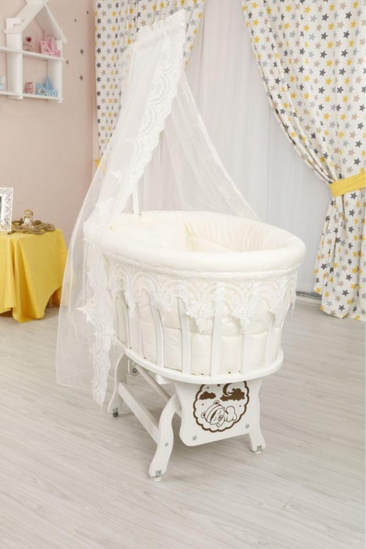 سرير بيضاوي أبيض ضانتيل اورجينال
