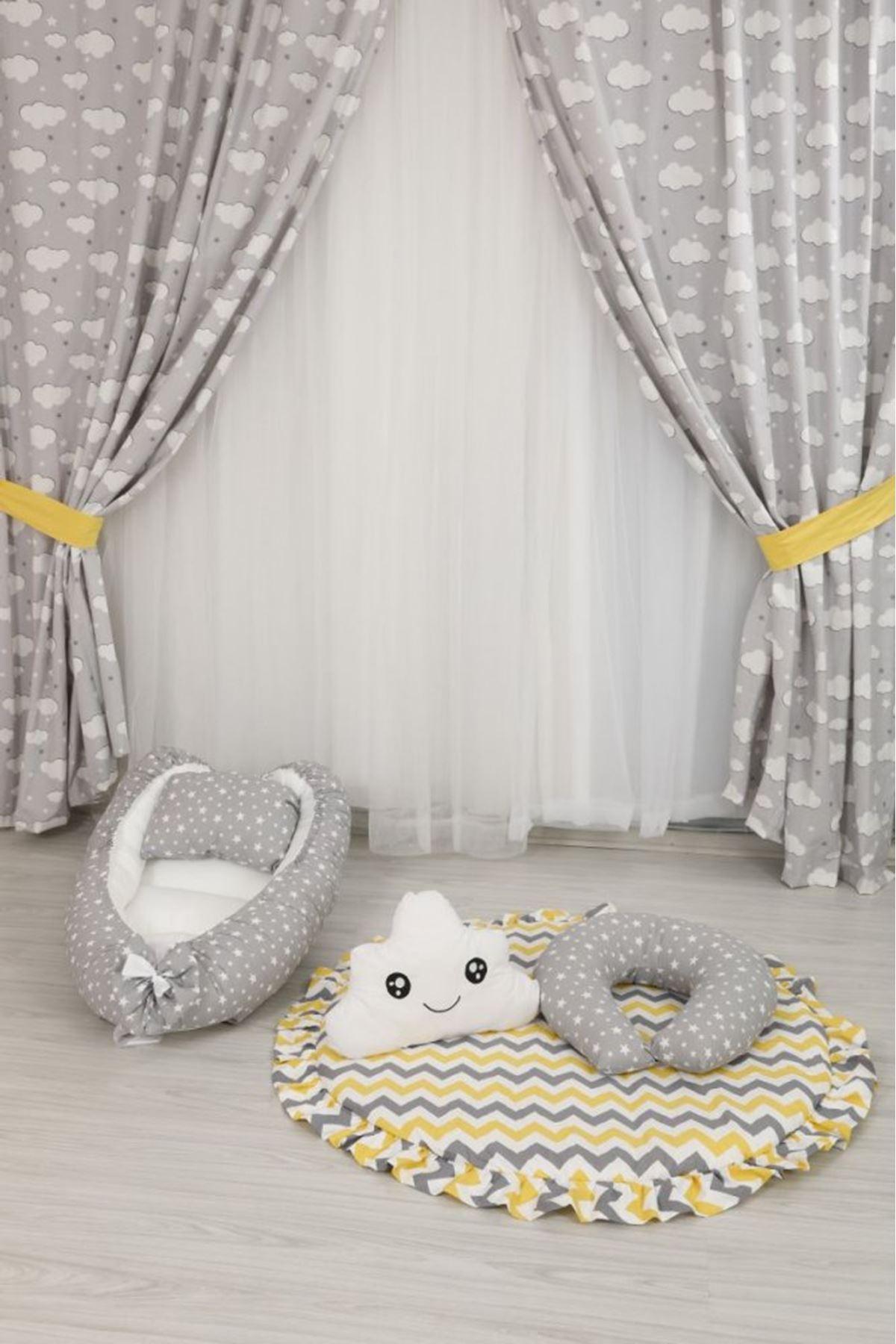 Sarı Zigzaglı Bebek Oyun Halısı Takımı