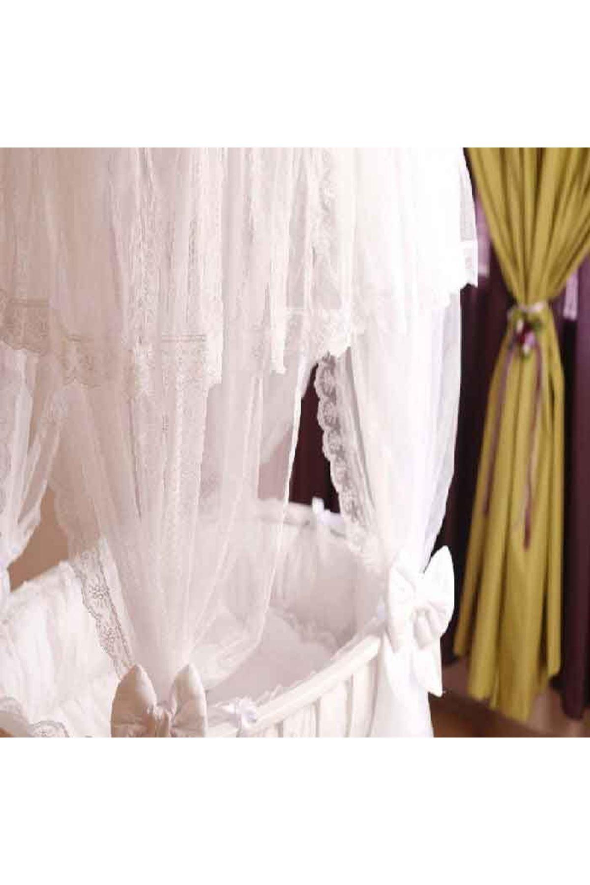 White Palace Cradle with White Baby Sleeping Set