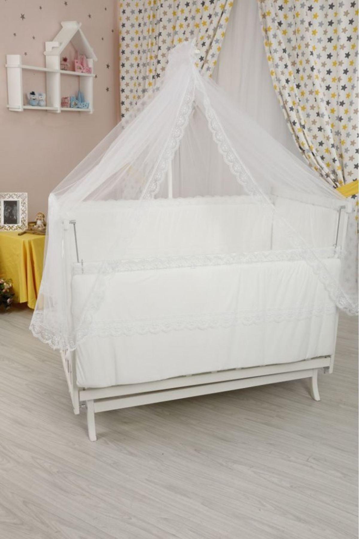 """Beyaz Anne Yanı Beşik """"Beyaz Fr. Dantelli"""" Uyku Seti ile"""
