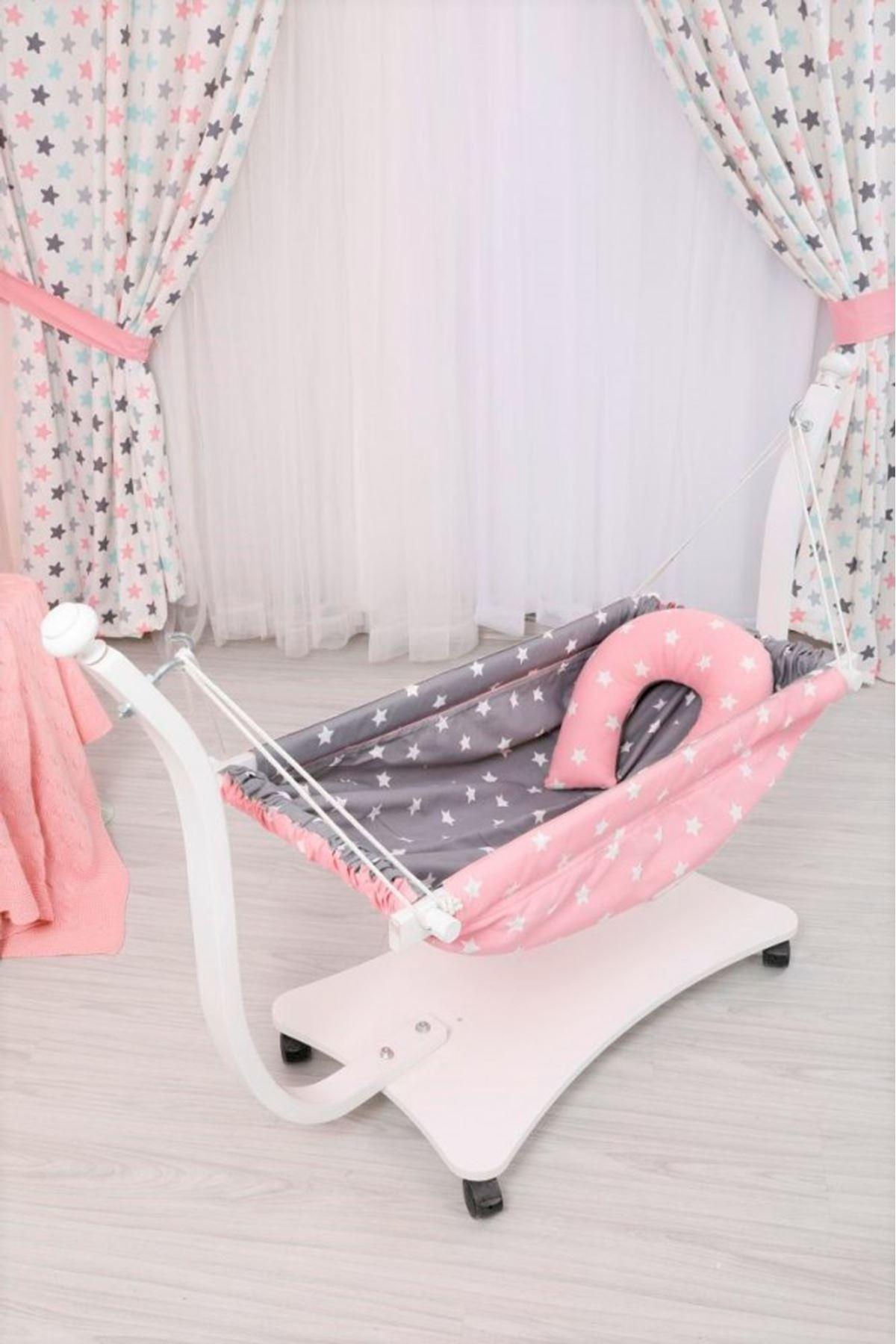 Beyaz Bebek Hamak Pembe Gri Yıldız Desenli