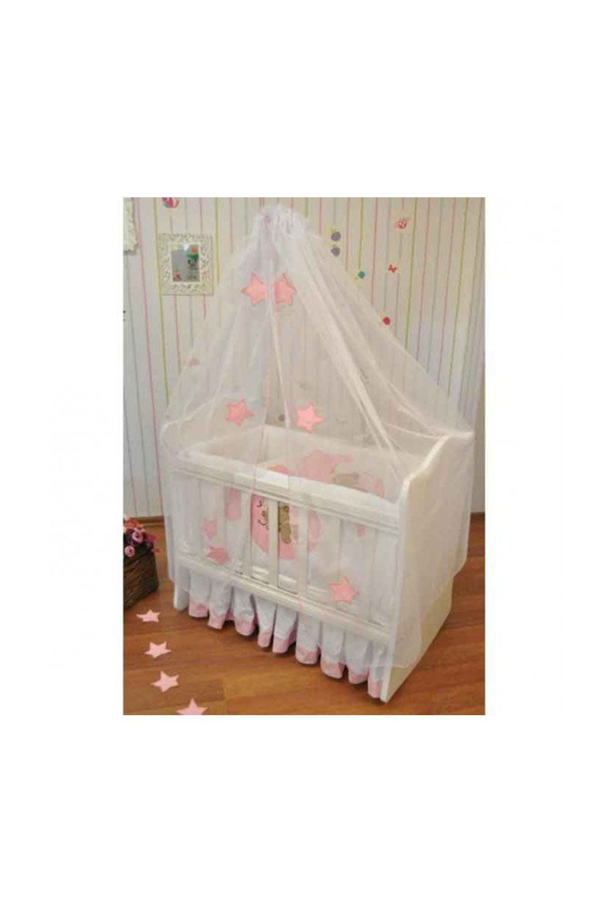 Pink Moon and Bear Sleeping Set for Baby Cradle