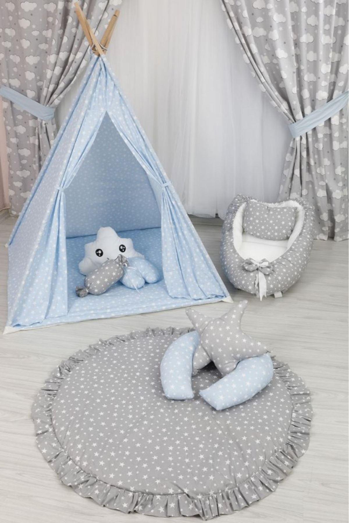 Çocuk Odası Mavi Yıldızlı Oyun Çadırı Takımı
