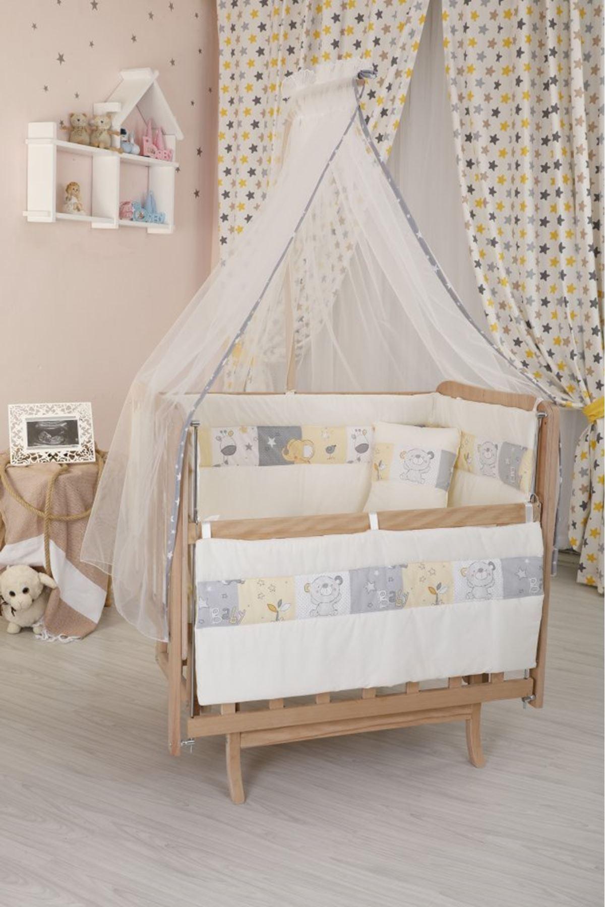 سرير خشبي مستطيل صغير قماش رسوم حيوانات