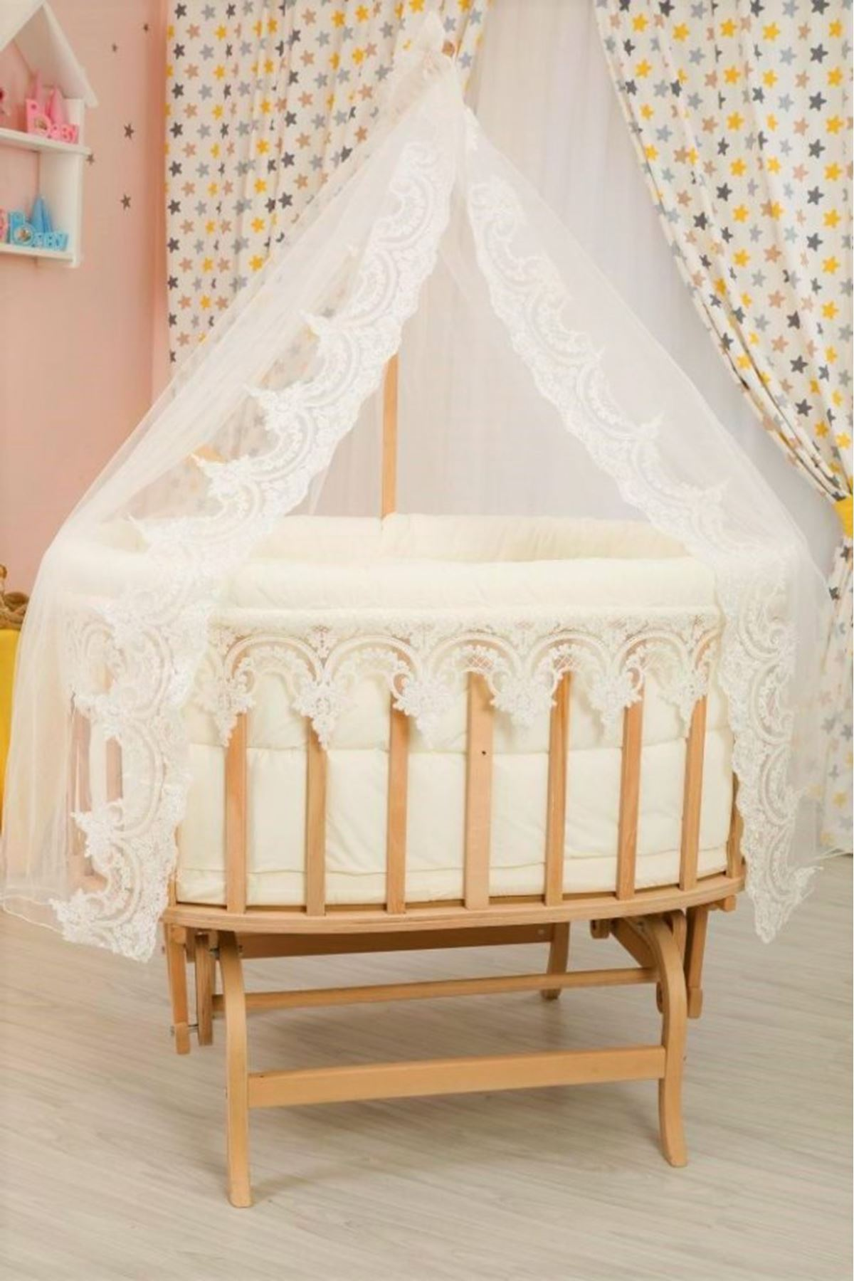 Baby Cot with Guipure Sleeping Set