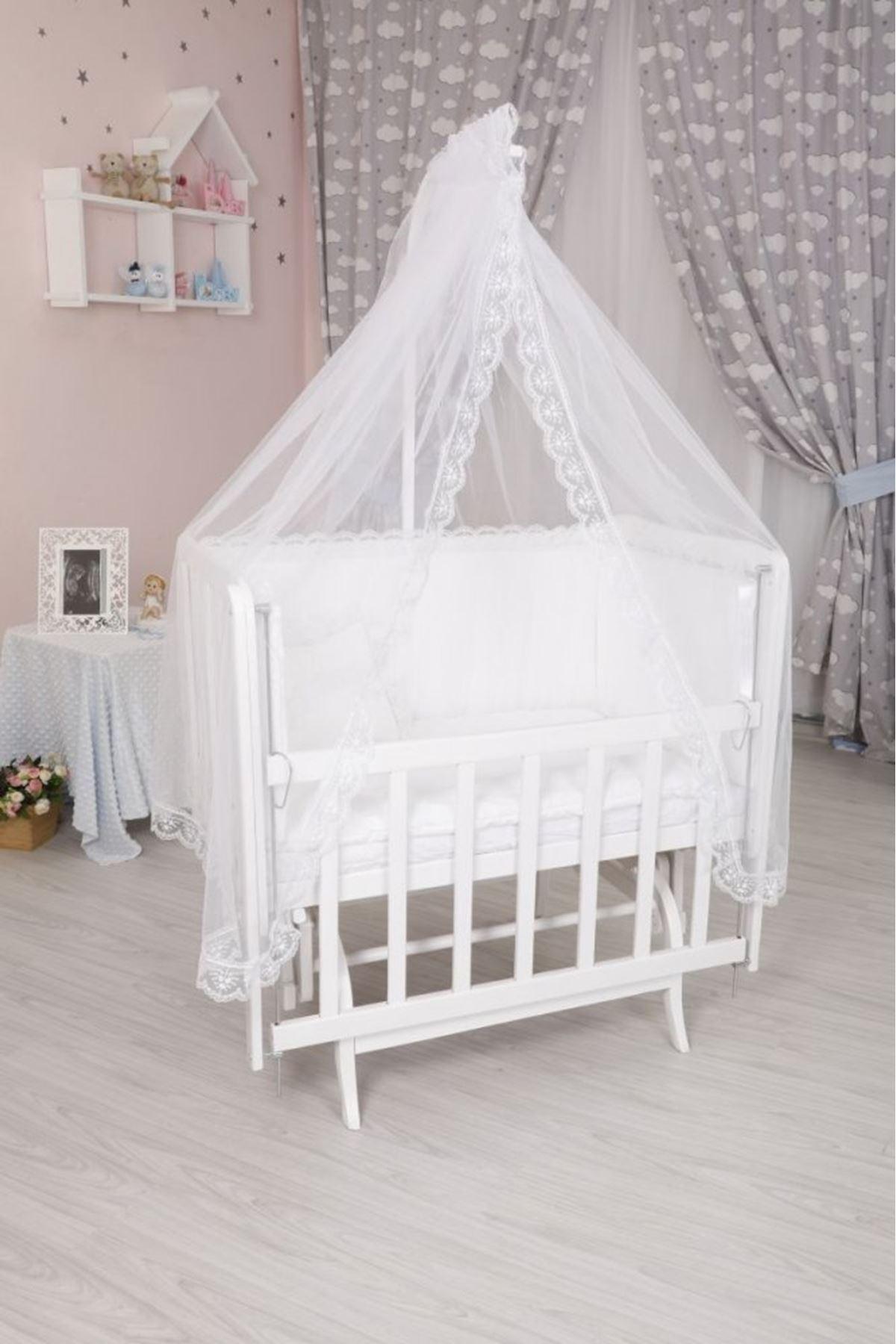 Beyaz Fransız Uyku Seti ile Beyaz Anne Yanı Beşik