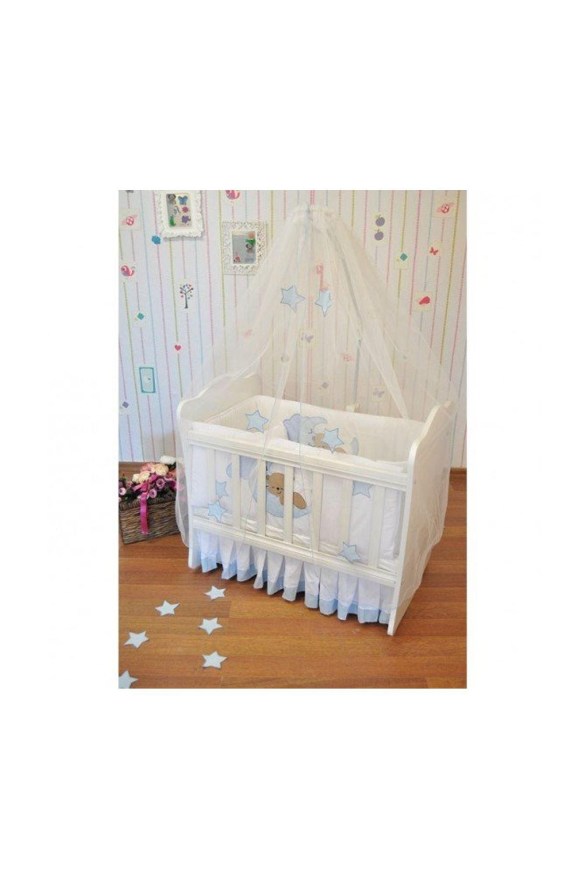 طقم قماش لسرير مقاس90×50لون أبيض دبدوب أزرق