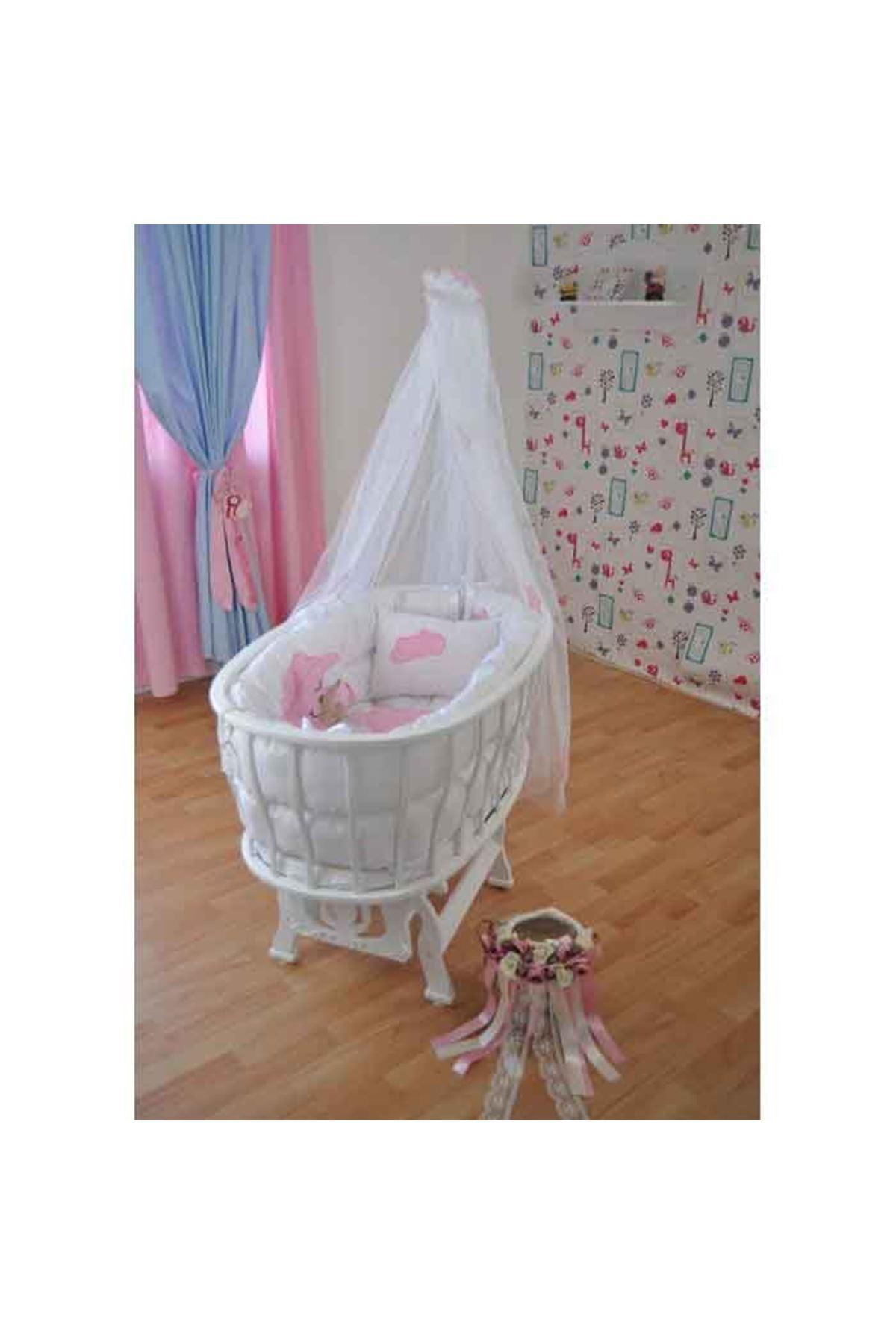 Pembe Ayıcık Uyku Setli Beyaz Sepet Bebek Beşiği