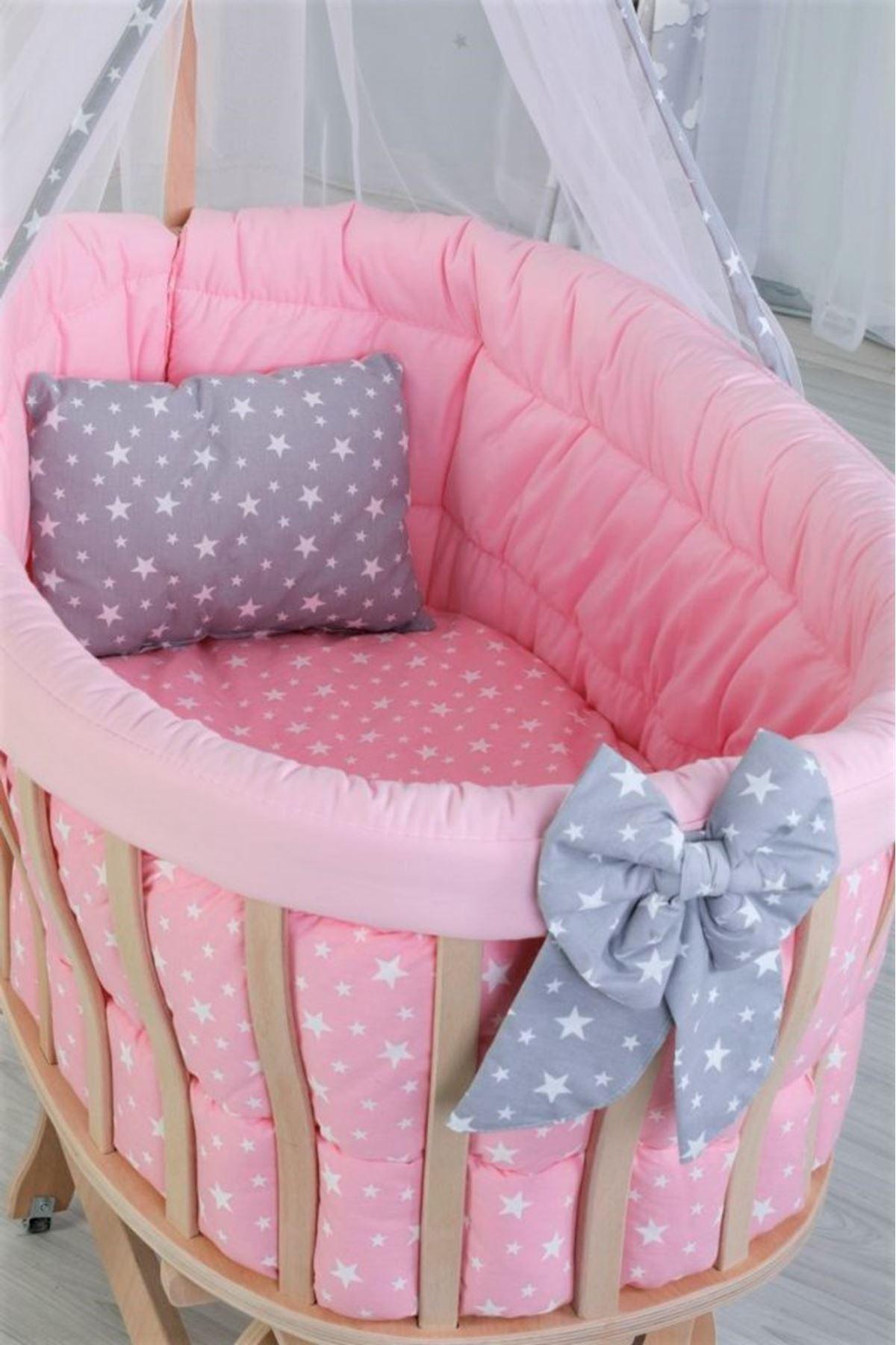 """Wooden Basket Cradle With """"Pink Star"""" Set"""