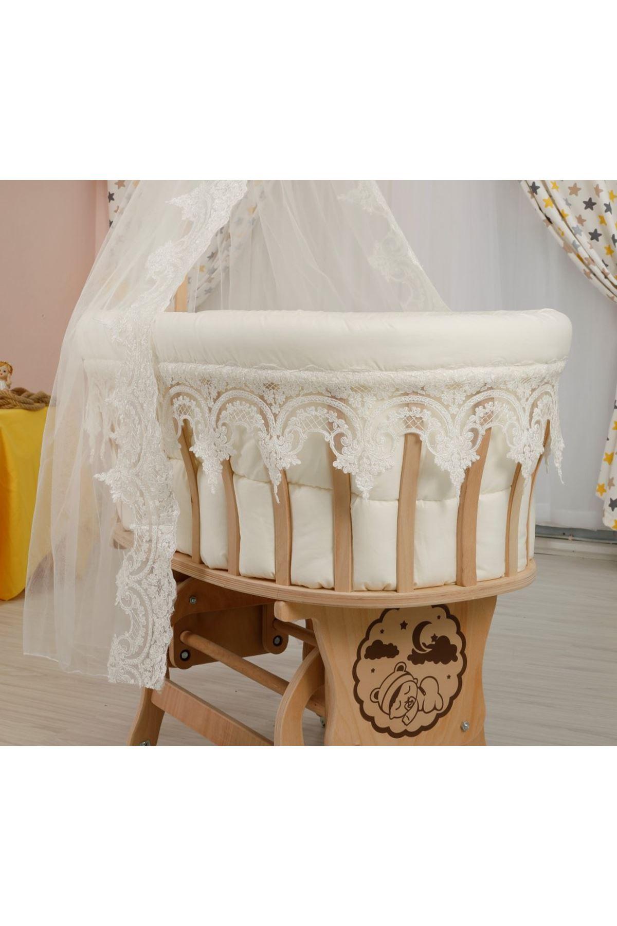 Krem Osmanlı Dantelli Bebek Uyku Seti  - Sepet Beşiklere Uyumlu