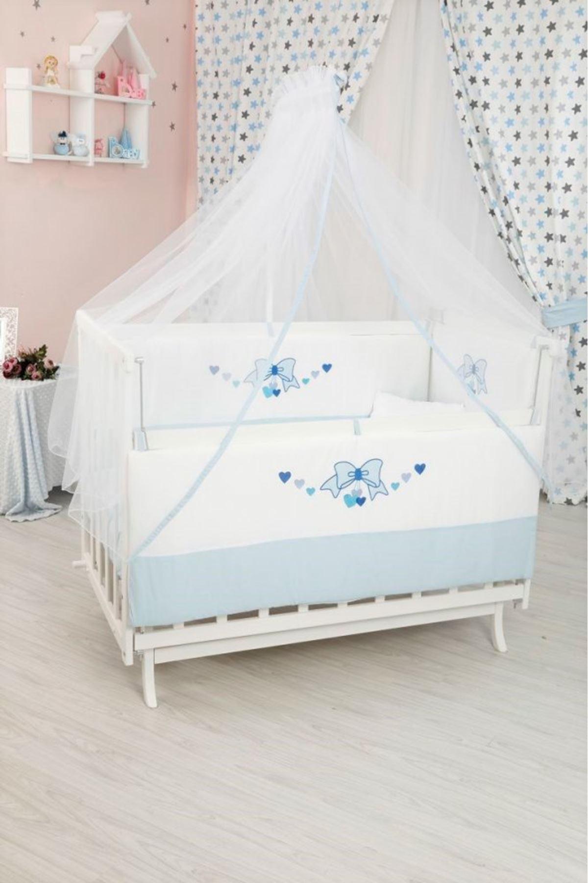 Renk Seçenekli Fiyonk Detaylı Uyku Seti İle Beyaz Karyola Beşik