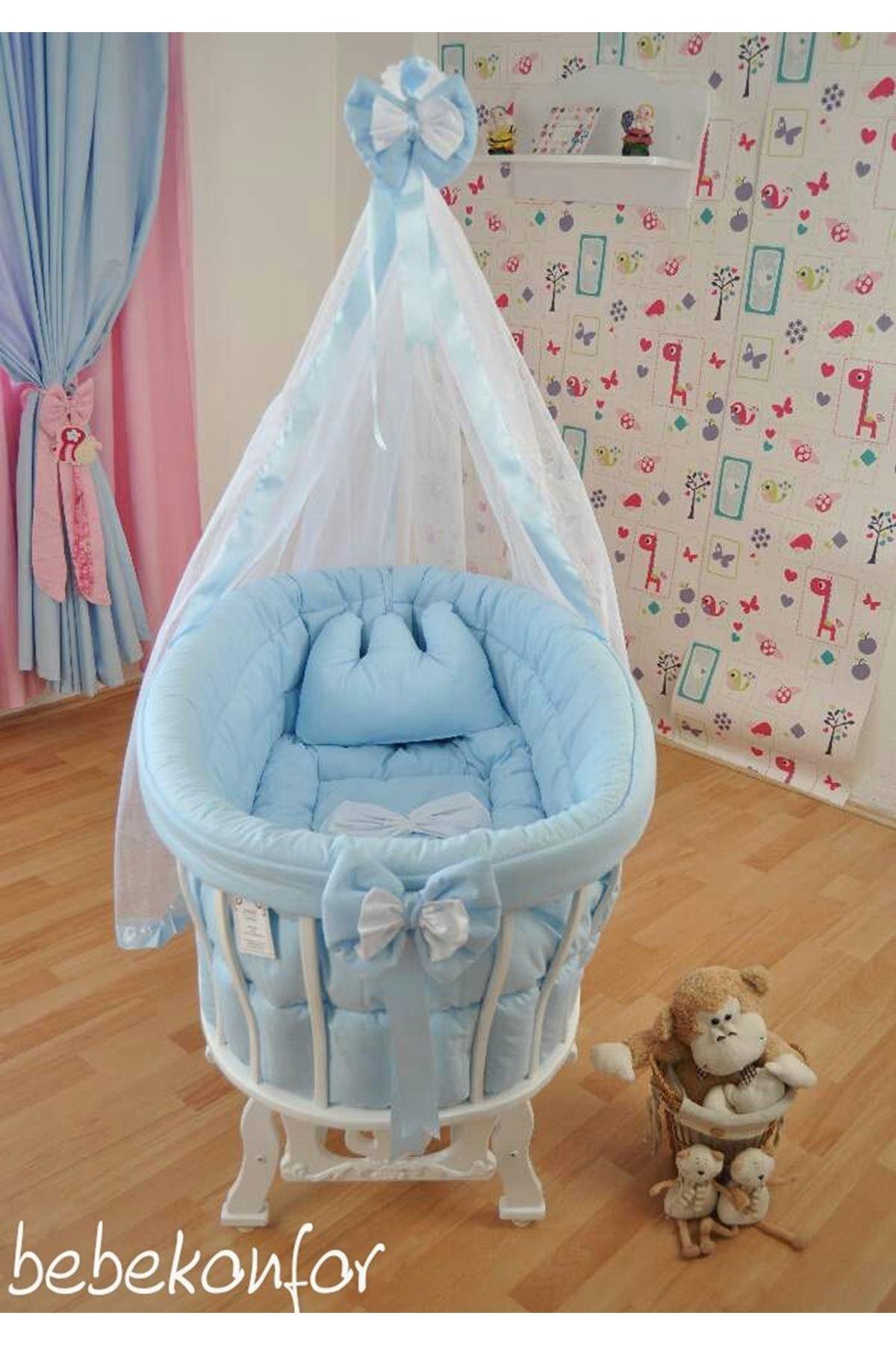 Sepet Beşik İçin Fiyonklu Mavi Bebek Uyku Seti