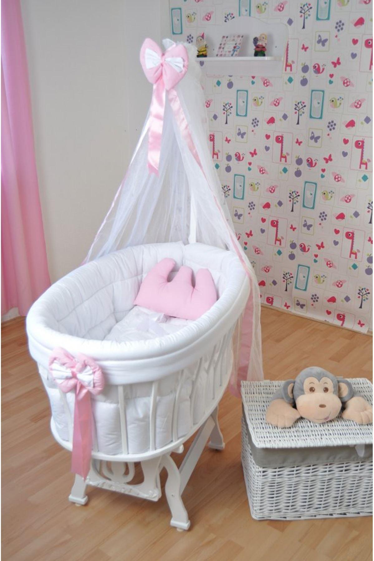 Sepet Beşik İçin Beyaz Pembe Fiyonklu Bebek Uyku Seti