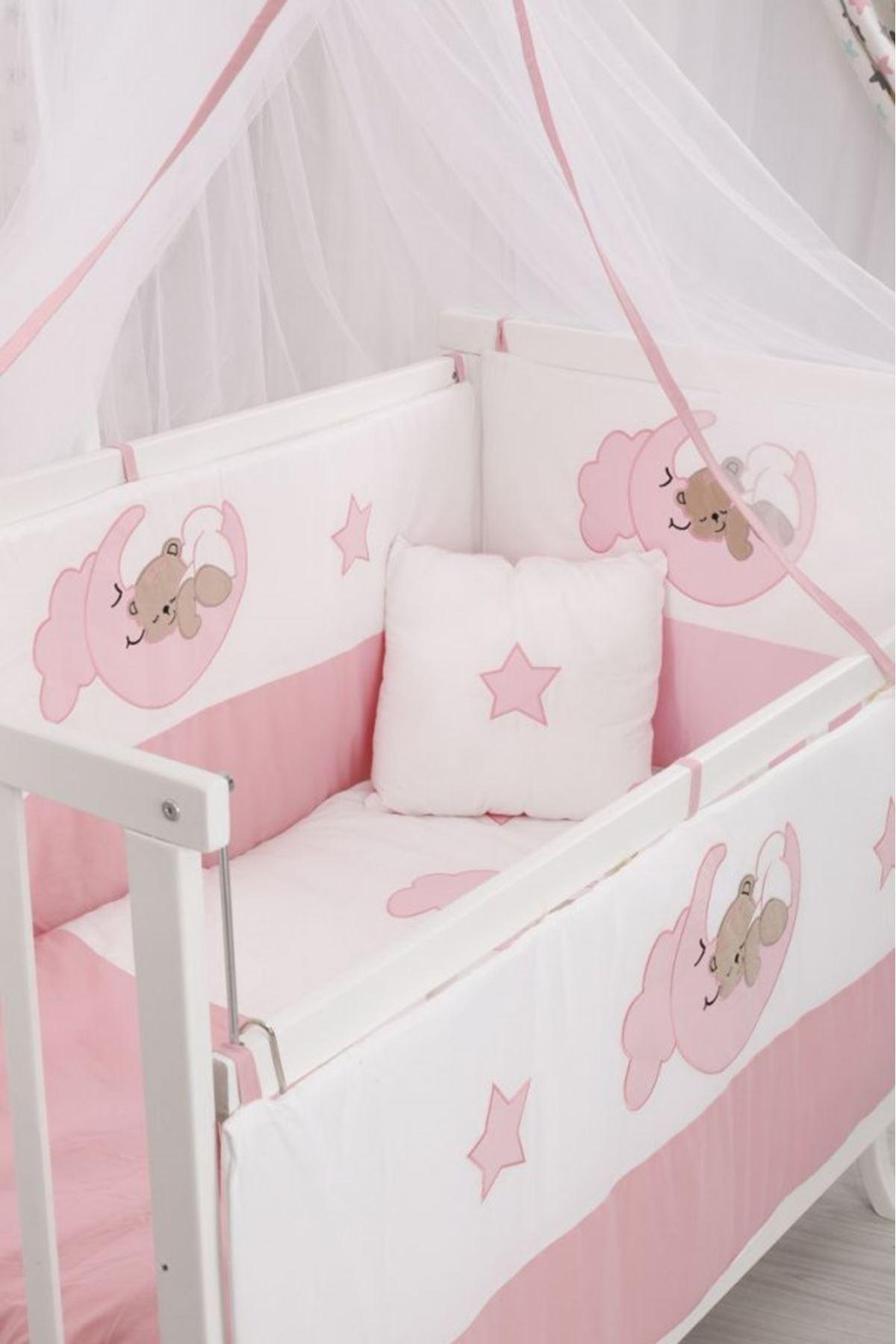 Pembe Ayıcıklı Uyku Seti Karyola Beşik İçin