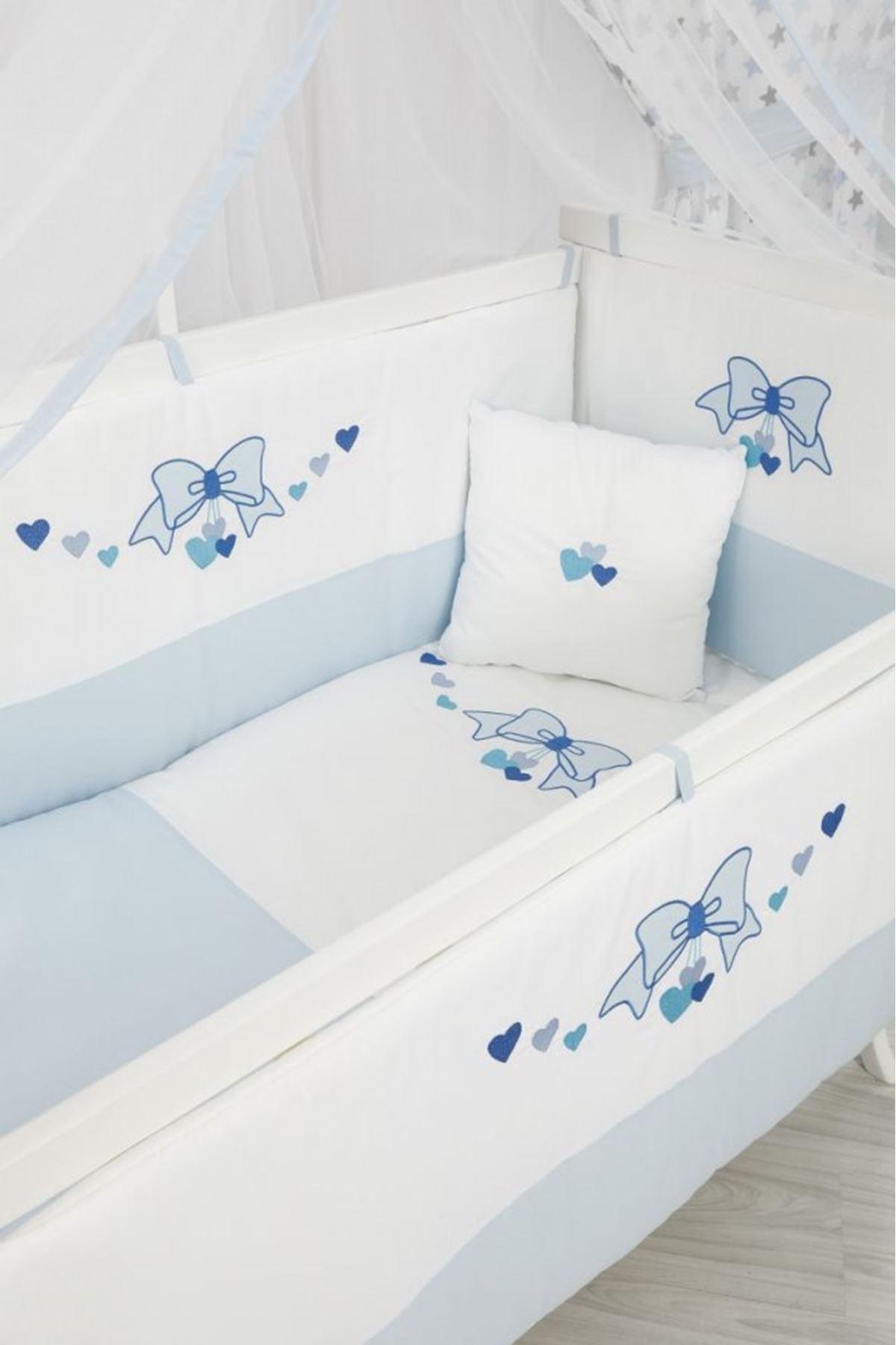 Karyola Beşik İçin Mavi Fiyonk Uyku Setli
