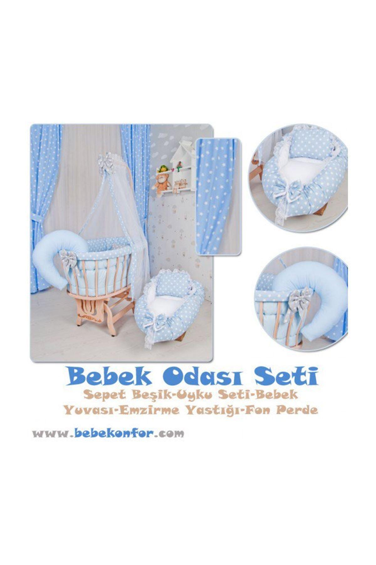 Mavi Yıldızlı Bebek Odası Beşik Seti