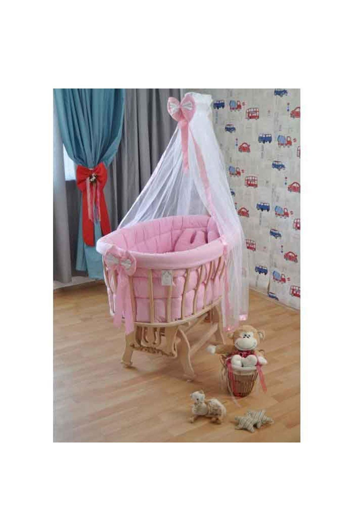 Pembe Fiyonk Uyku Setli Doğal Ahşap Sepet Bebek Beşiği