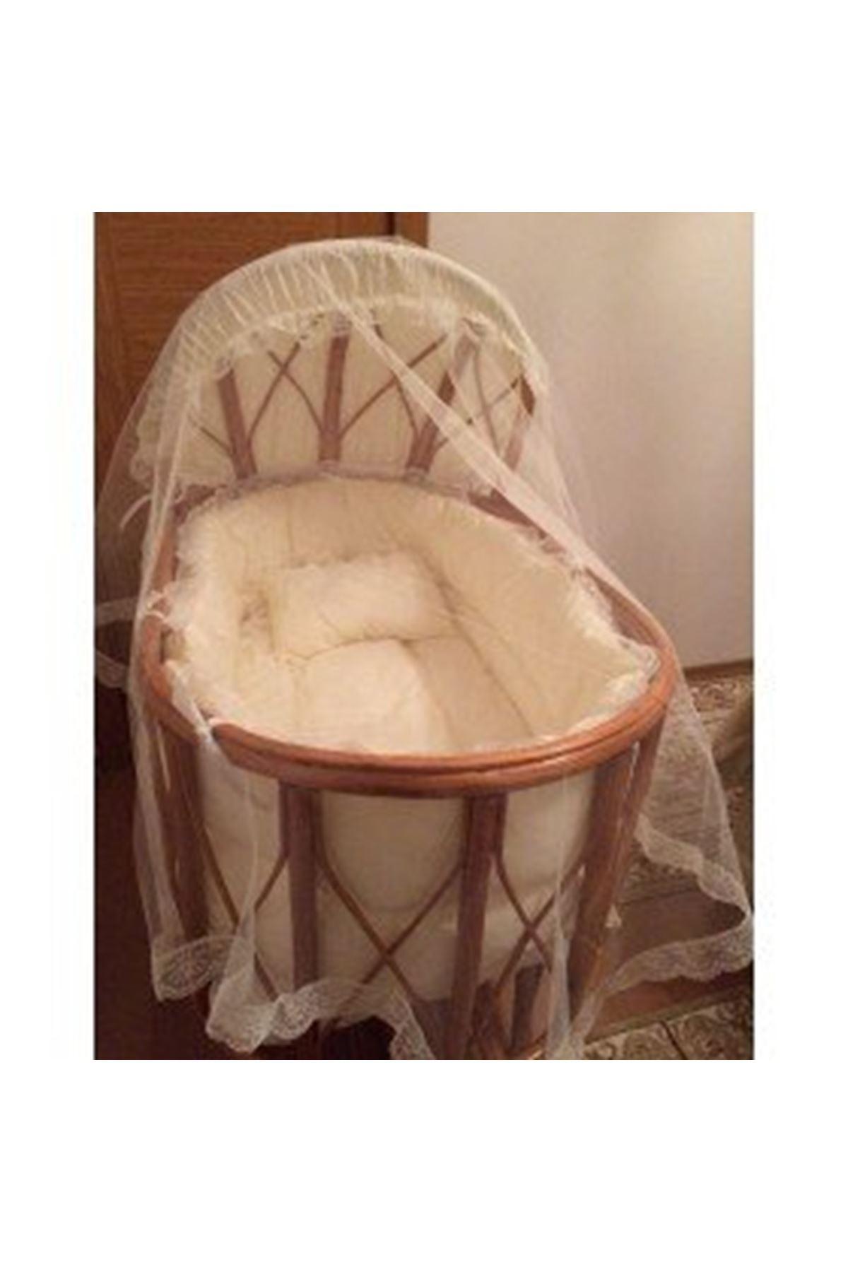 Bambu Sepet Beşikler İçin Krem Fransız Dantelli Bebek Uyku Seti