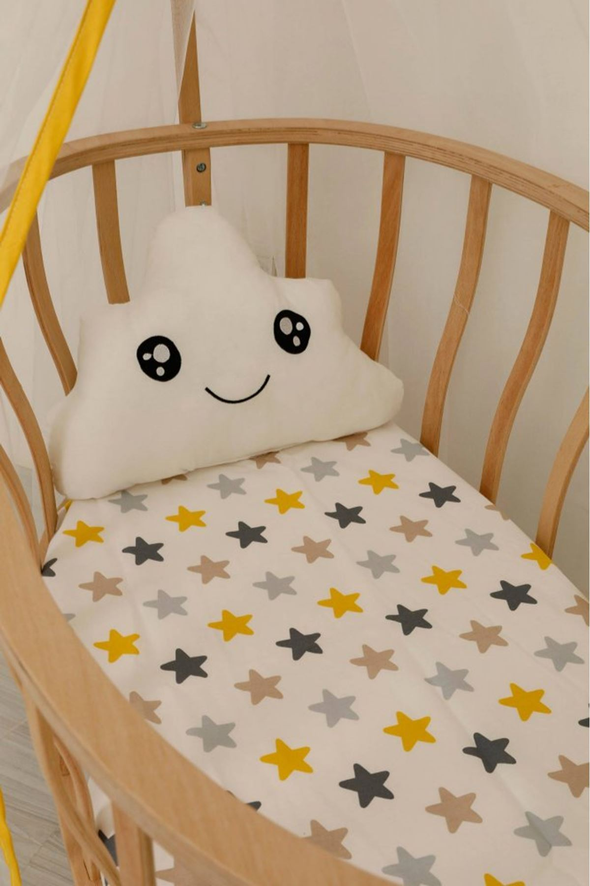 Wooden Basket Cradle Eco Yellow Gray Star Bed