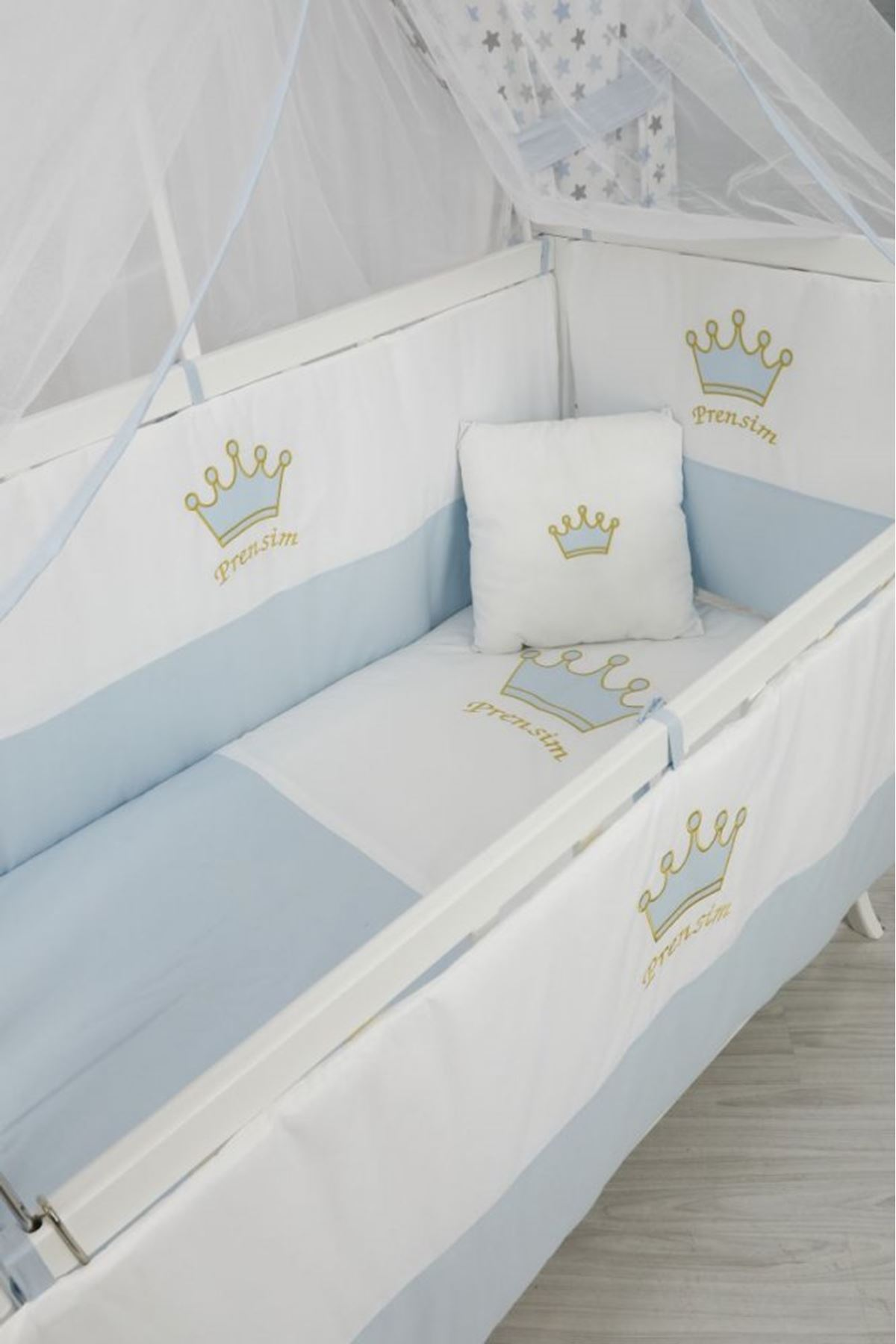 Karyola Beşik İçin Mavi Kral Taçlı Bebek Uyku Seti