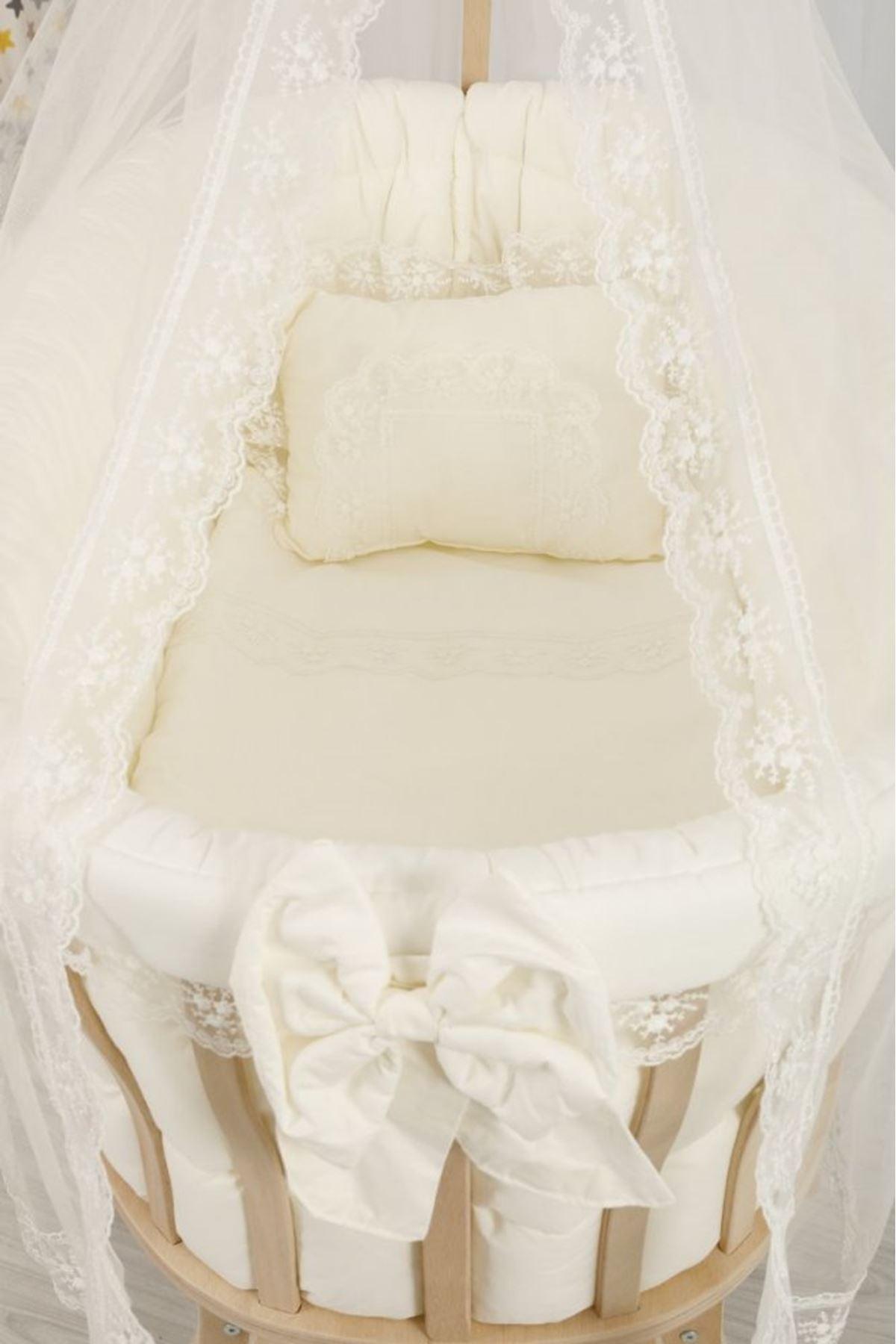 Sepet Beşik İçin Krem Fransiz Dantelli Bebek Uyku Seti