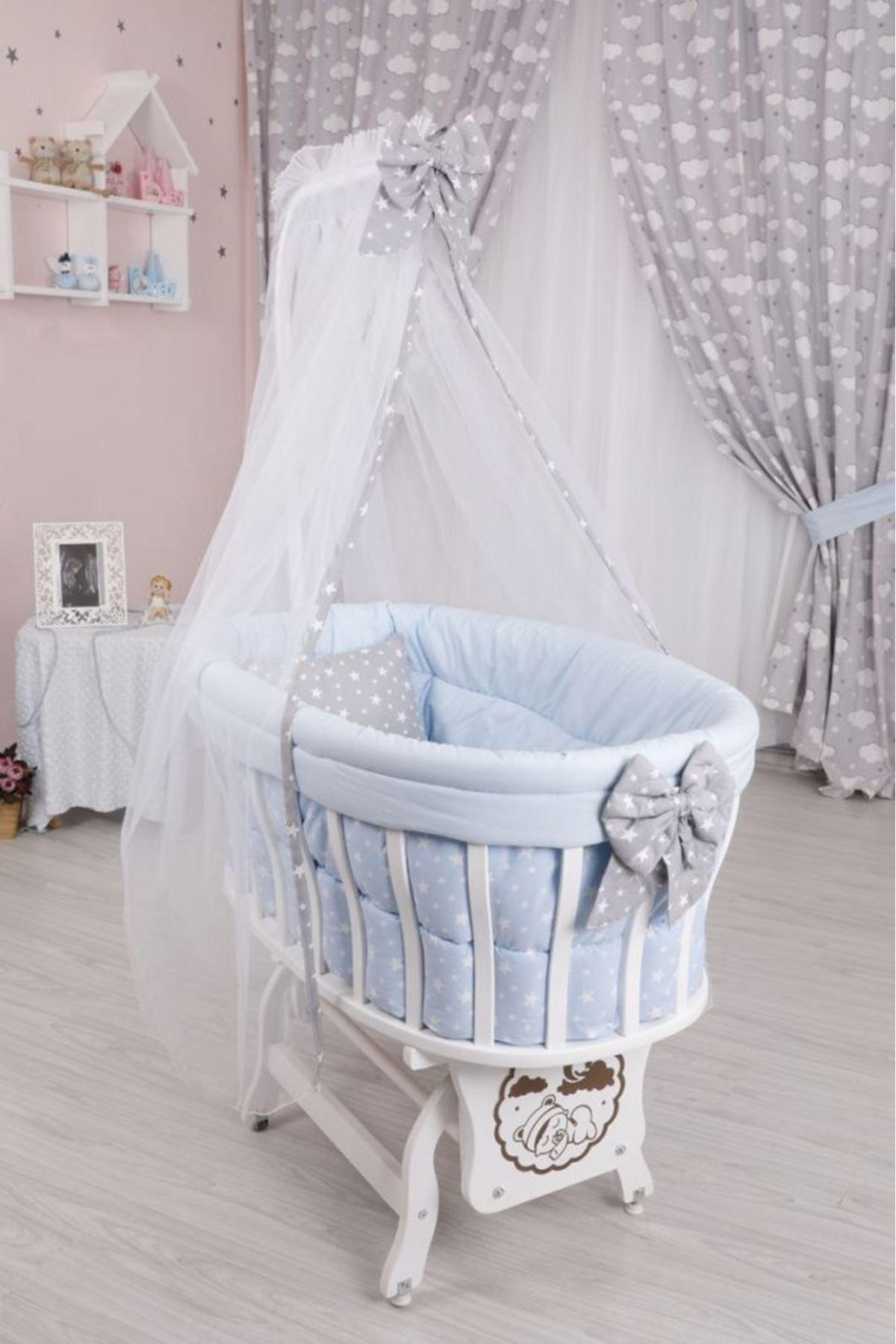 Sepet Beşik İçin Mavi Gri Yildizli Kıvırmalı Bebek Uyku Seti