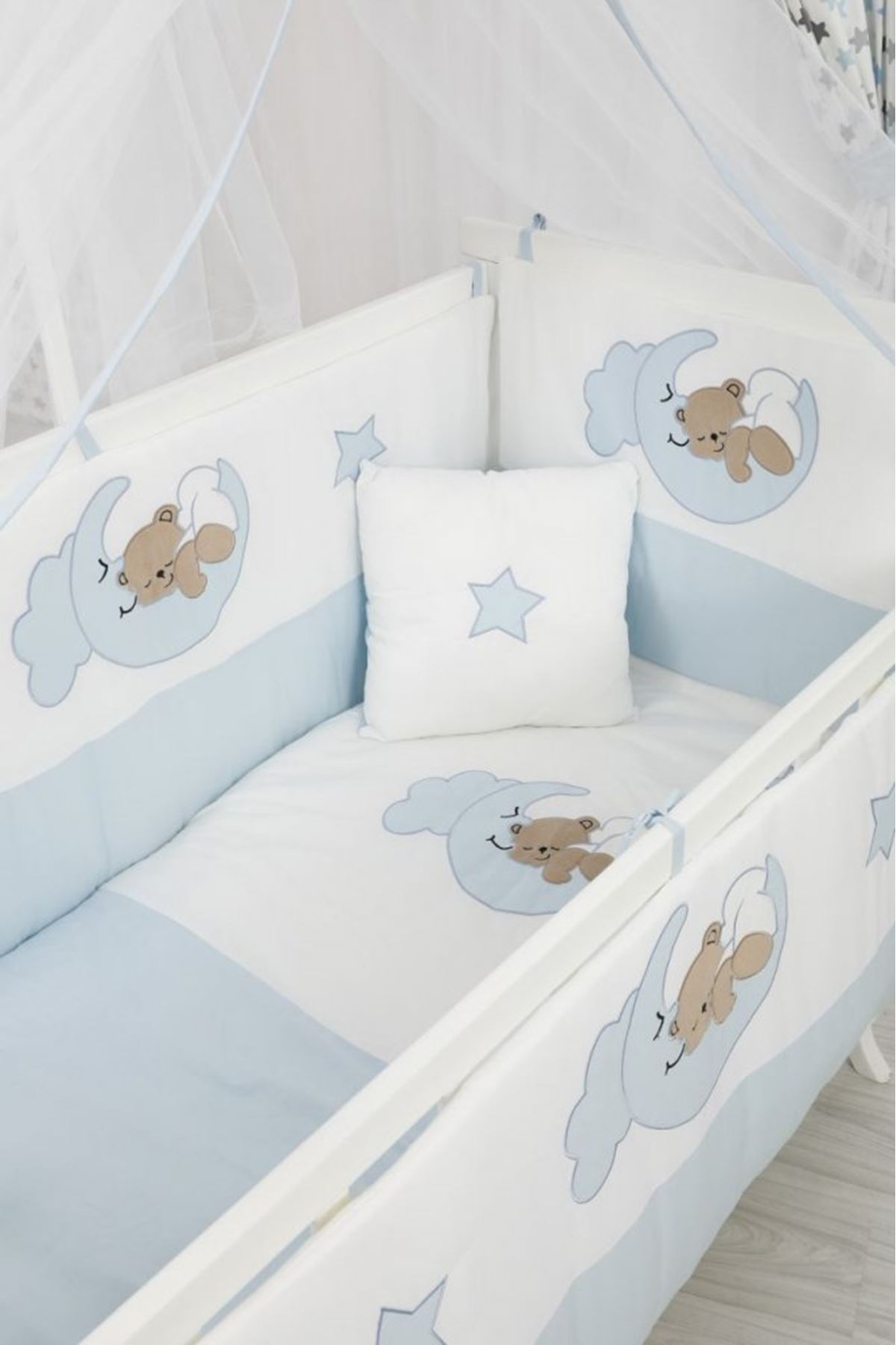 Mavi Ayıcıklı Uyku Seti Karyola Beşik İçin