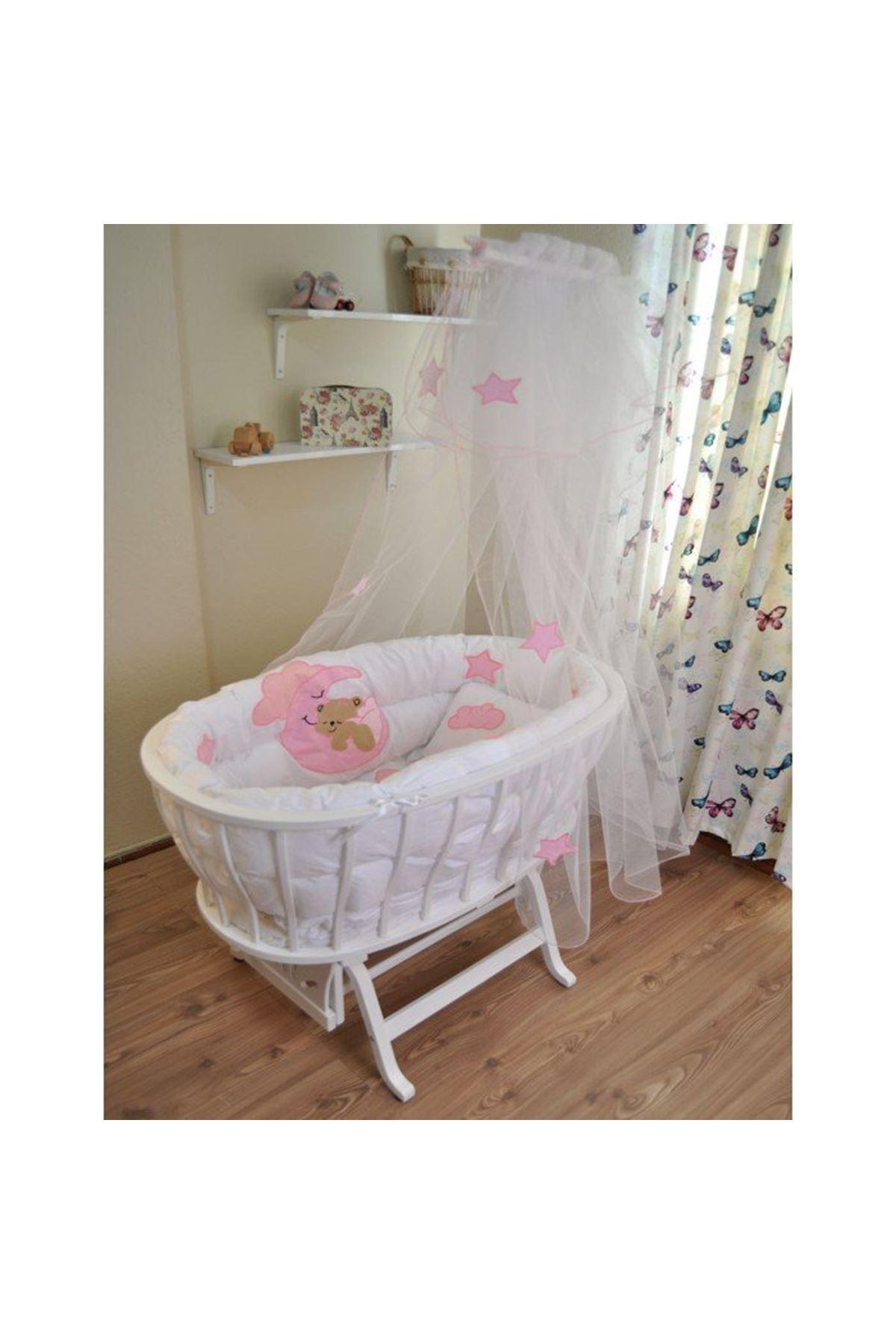 Sepet Beşik İçin Pembe Ayıcıklı Bebek Uyku Seti