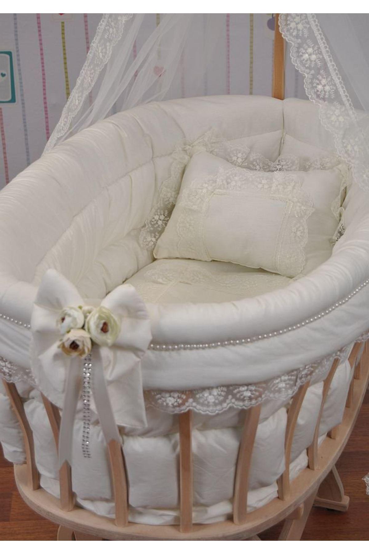 Sepet Beşik İçin Krem Çiçekli Fiyonklu Bebek Uyku Seti