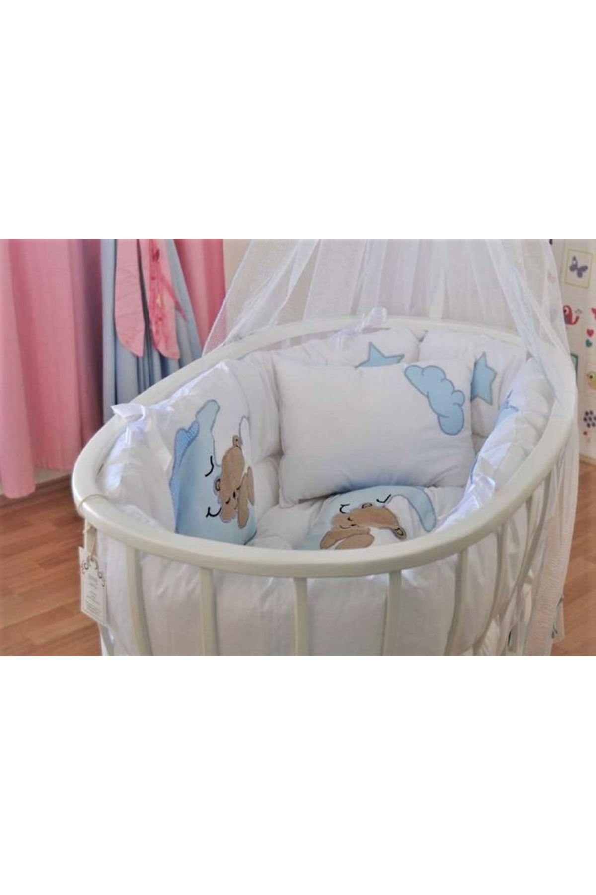 Sepet Beşik İçin Mavi Ayıcıklı Bebek Uyku Seti