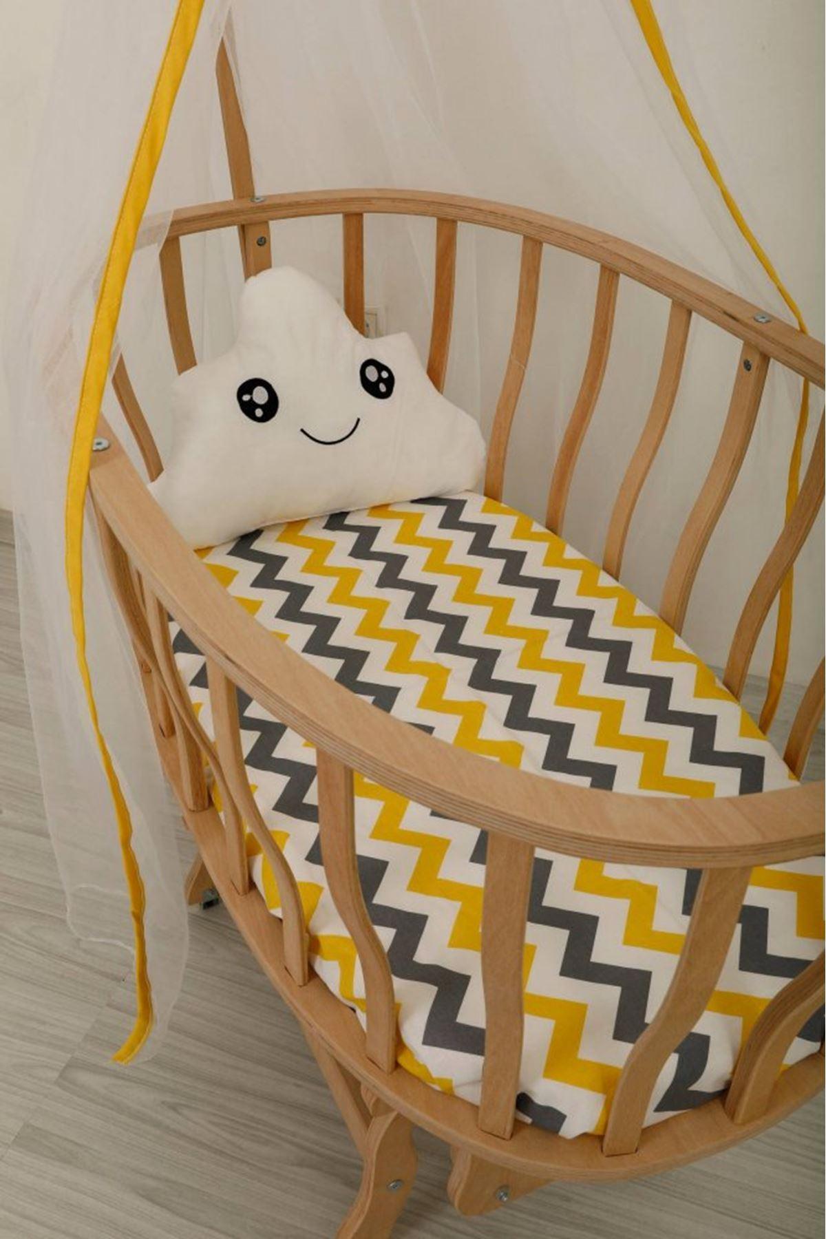 Wooden Basket Cradle Eco Yellow Zigzag Bed
