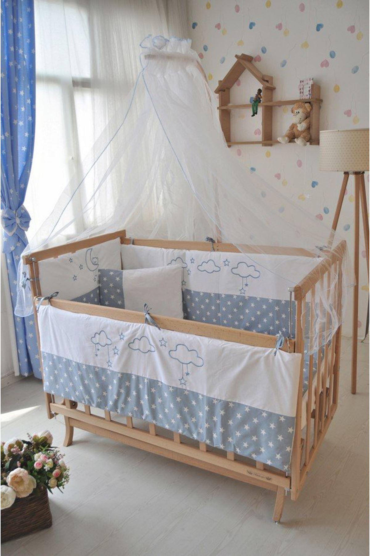 Mavi Bulutlu Uyku Seti ile Elyeza Bebek Karyolası