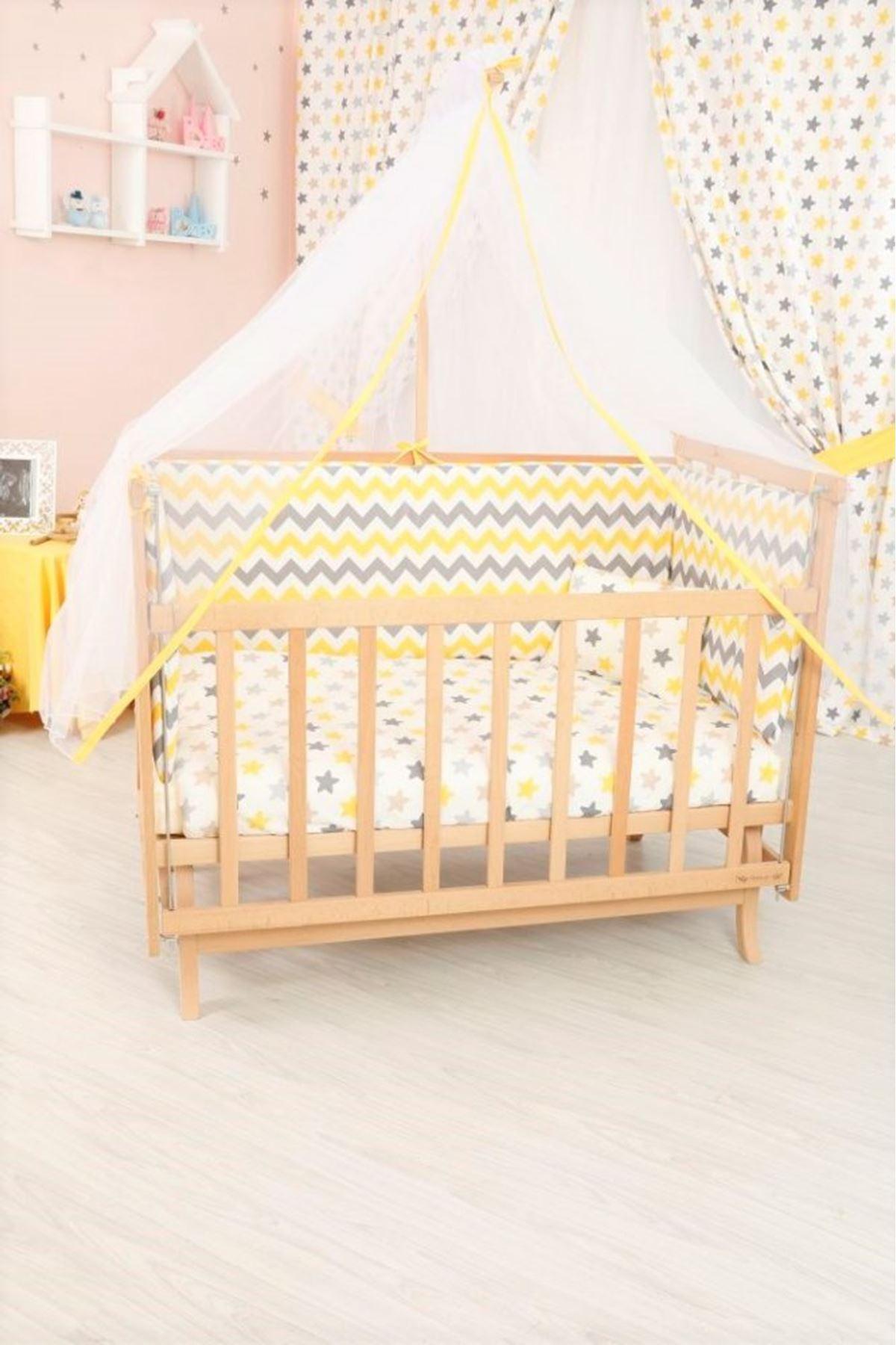 Anne Yanı Beşik İçin Sarı Zigzag Detaylı Bebek Uyku Seti
