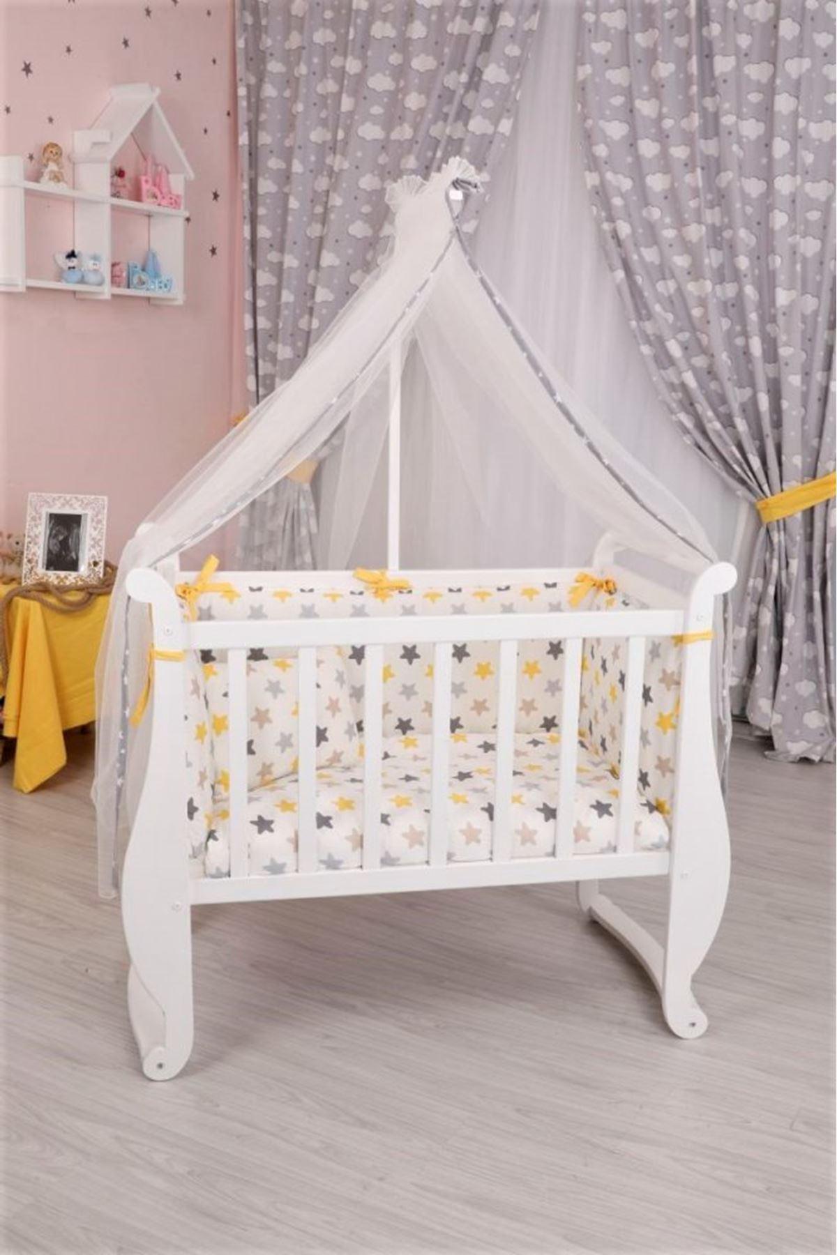 Sarı Yıldızlı Uyku Setli Beyaz Melodi La-mi Beşik
