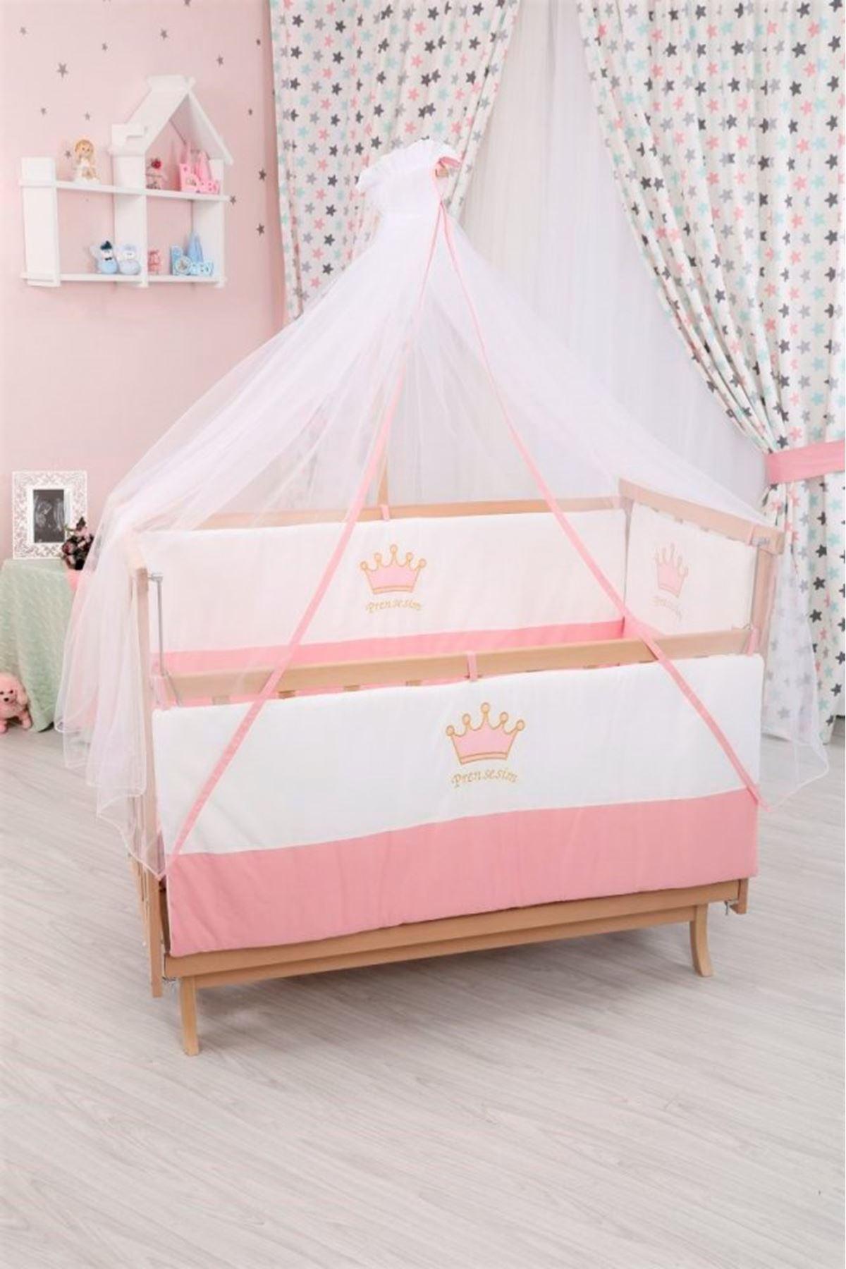 Pembe Taçlı Uyku Seti ile Doğal Karyola Bebek Beşiği