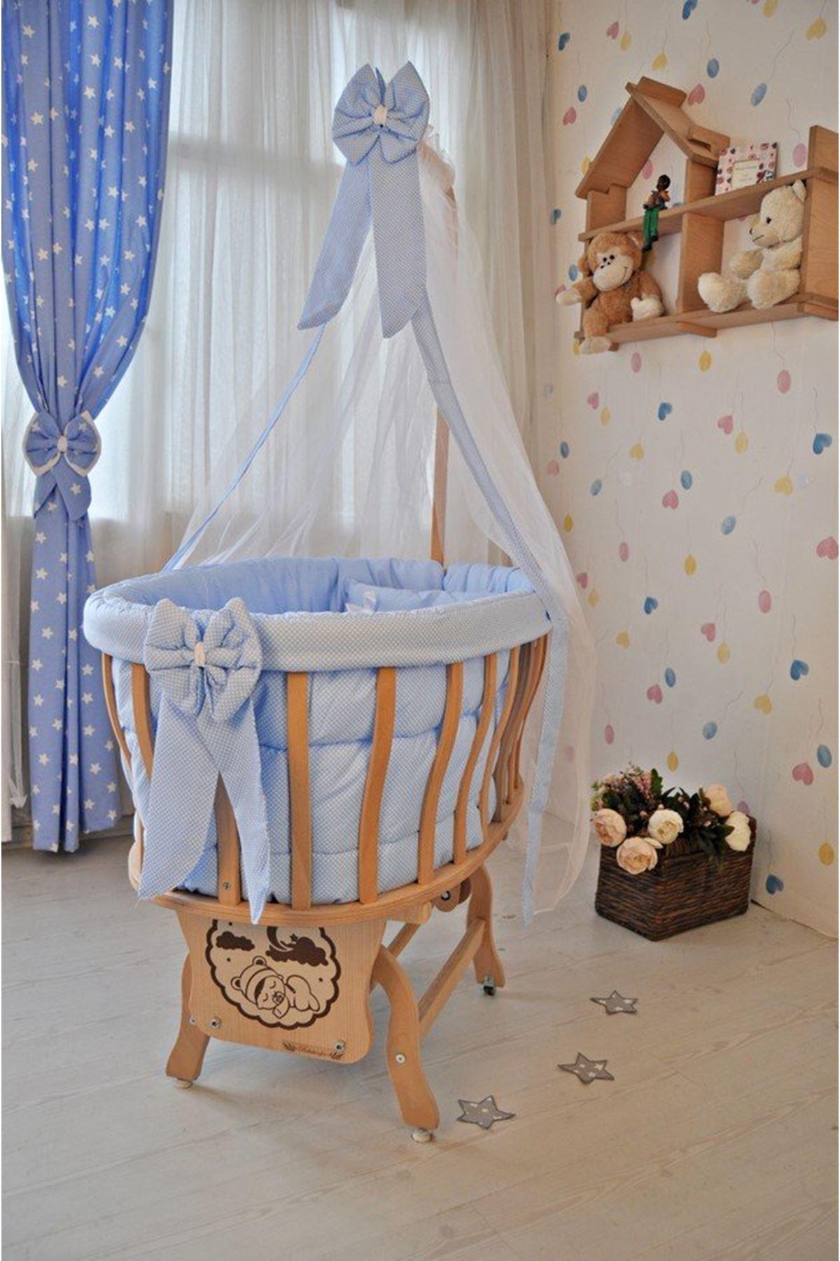 Mavi Puantiyeli Uyku Setli Doğal Ahşap Sepet Bebek Beşikleri