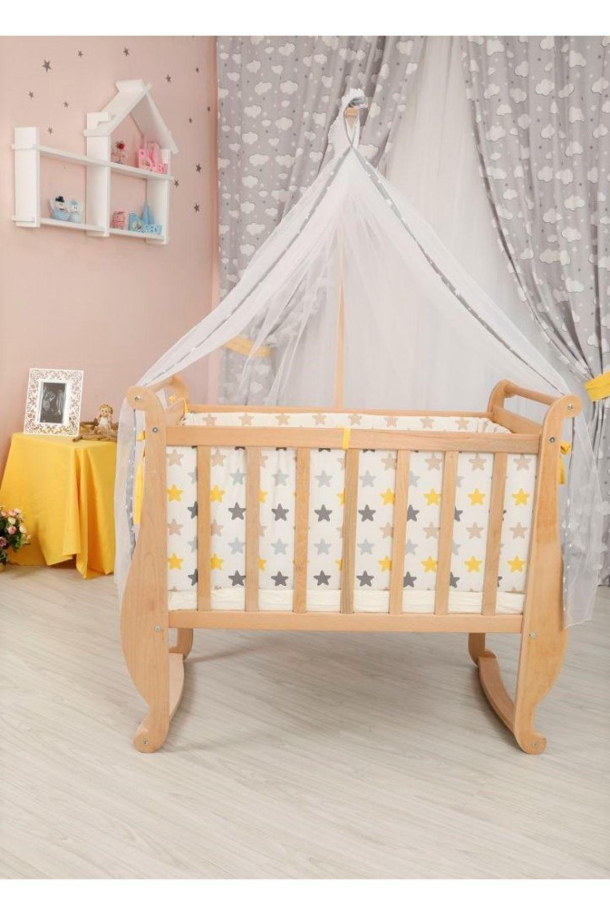 Sarı Yıldızlı Uyku Setli  Doğal Melodi La-mi Beşik