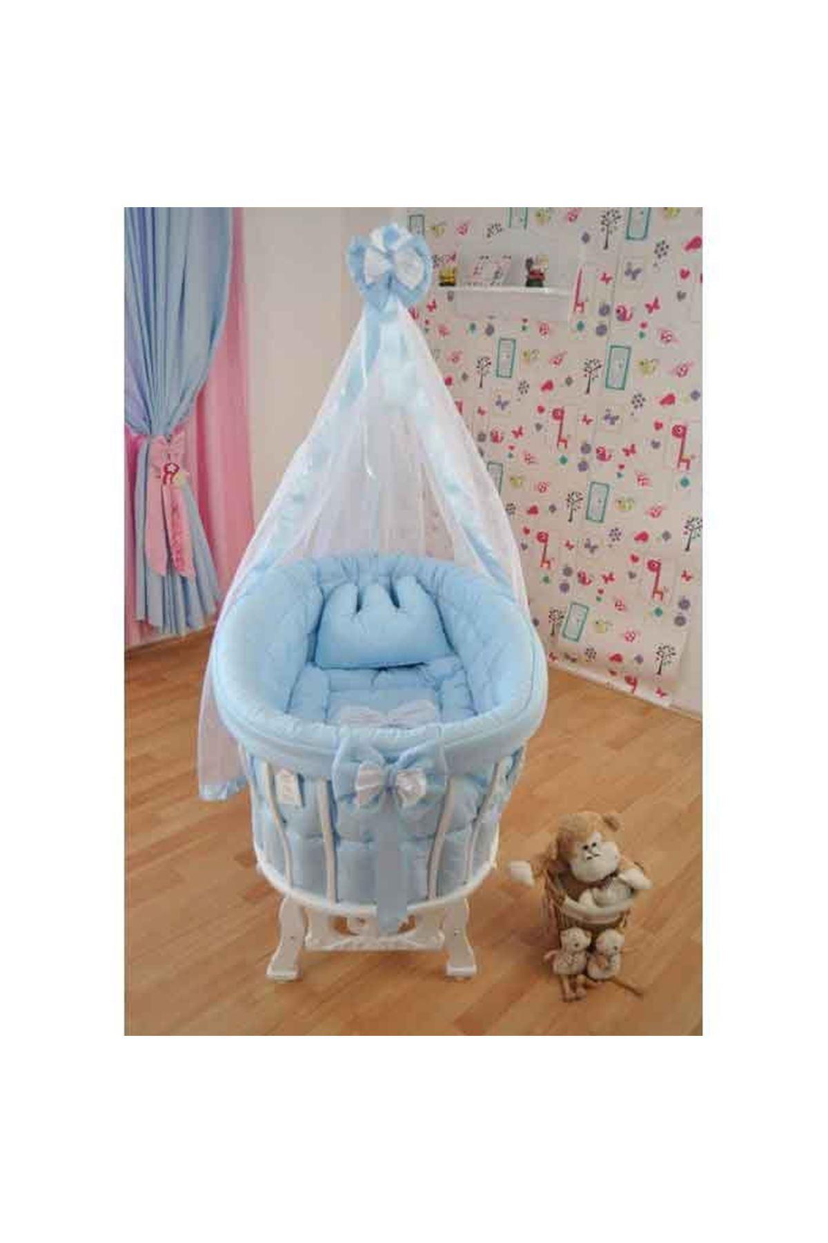 Mavi Uyku Setli Beyaz Ahşap Sepet Bebek Beşiği