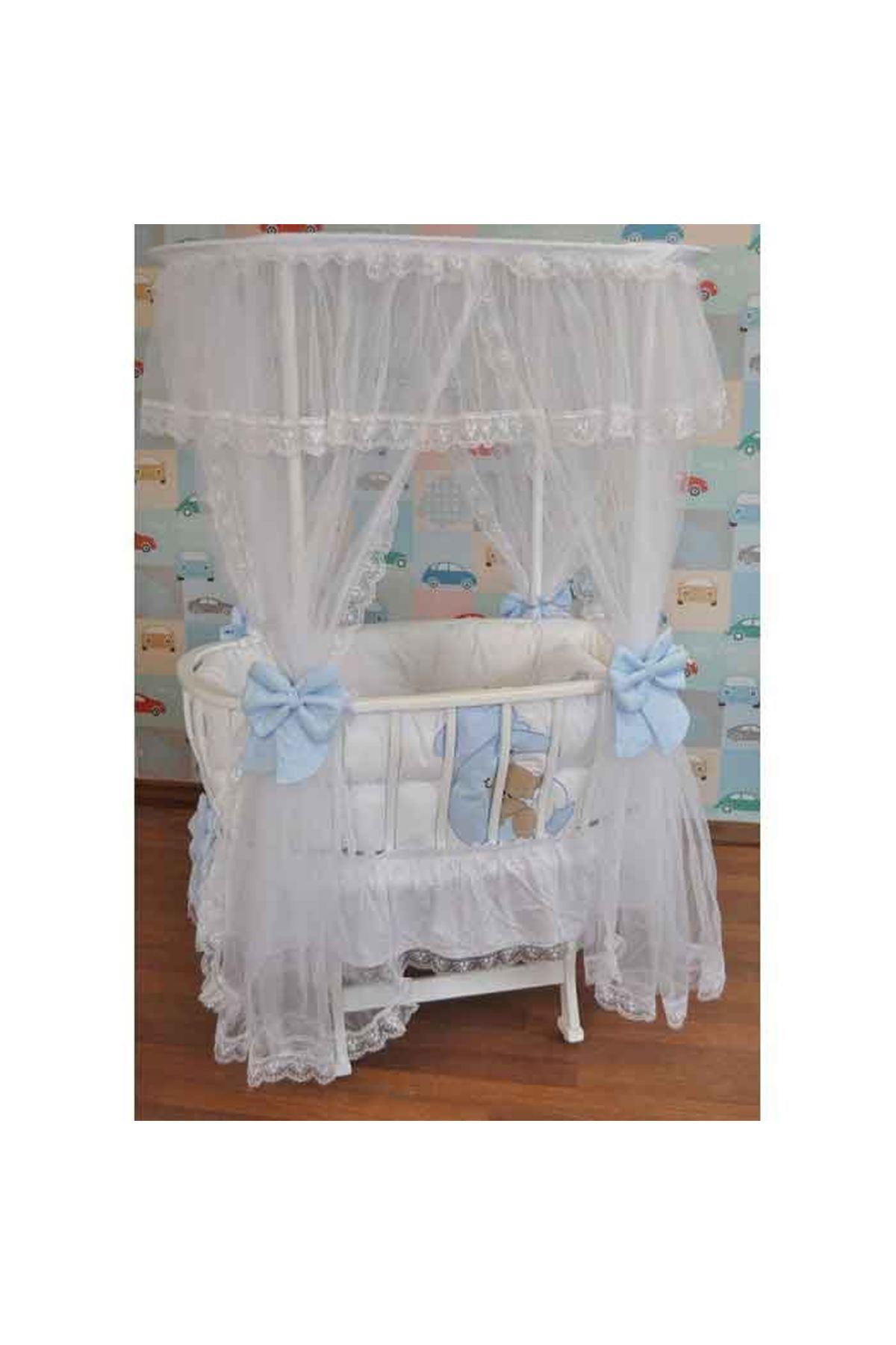 Mavi Ayıcık Uyku Setli Beyaz Çatılı Ahşap Sepet Beşik