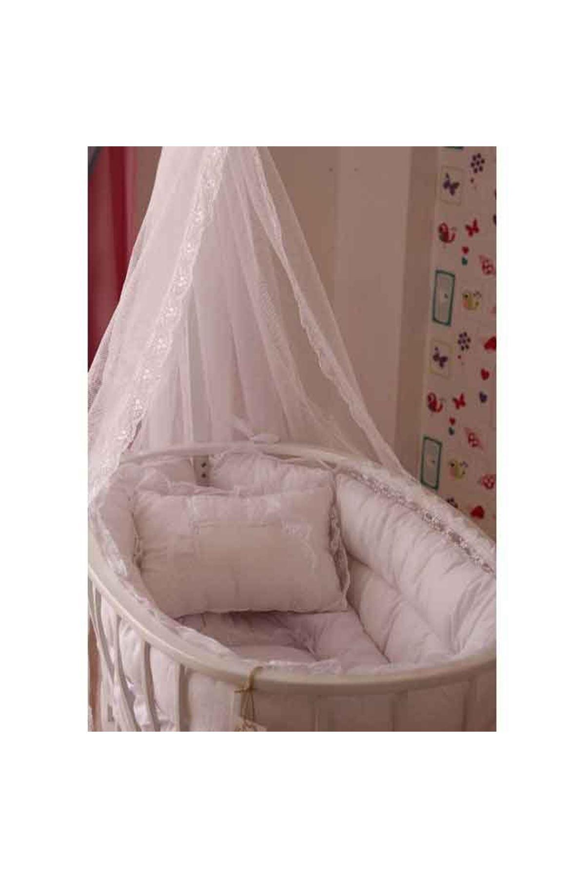 Beyaz Fransız Dantel Puf Uyku Setli Beyaz Sepet Beşik