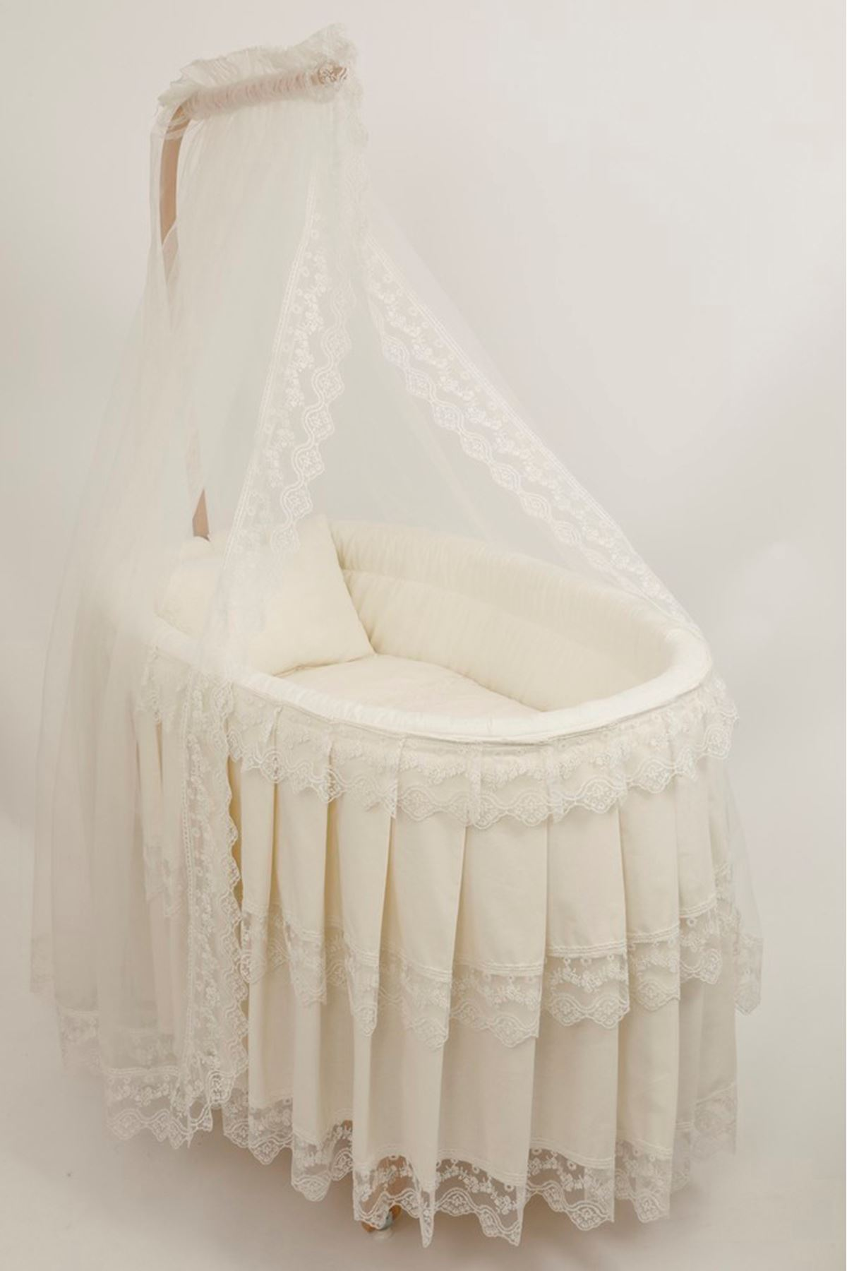 Basket Cradle with Fabric Skirt