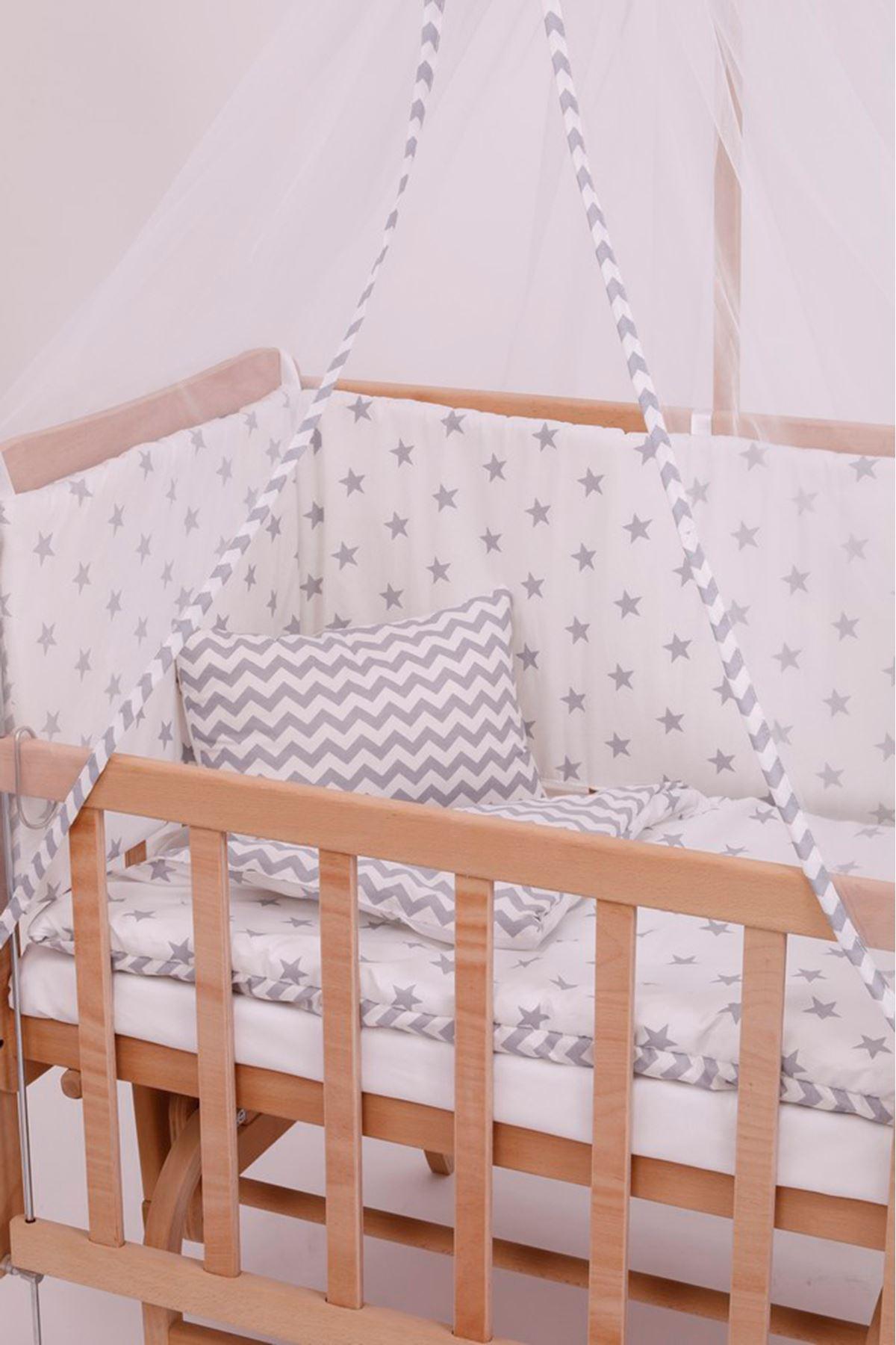 Lara Anne Yanı Beşik Gri Zigzaglı Uyku Seti İle