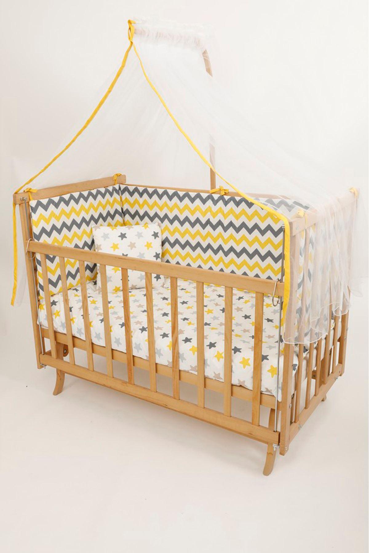 سرير خشبي مستطيل 5 سنوات قماش زيكزاك أصفر