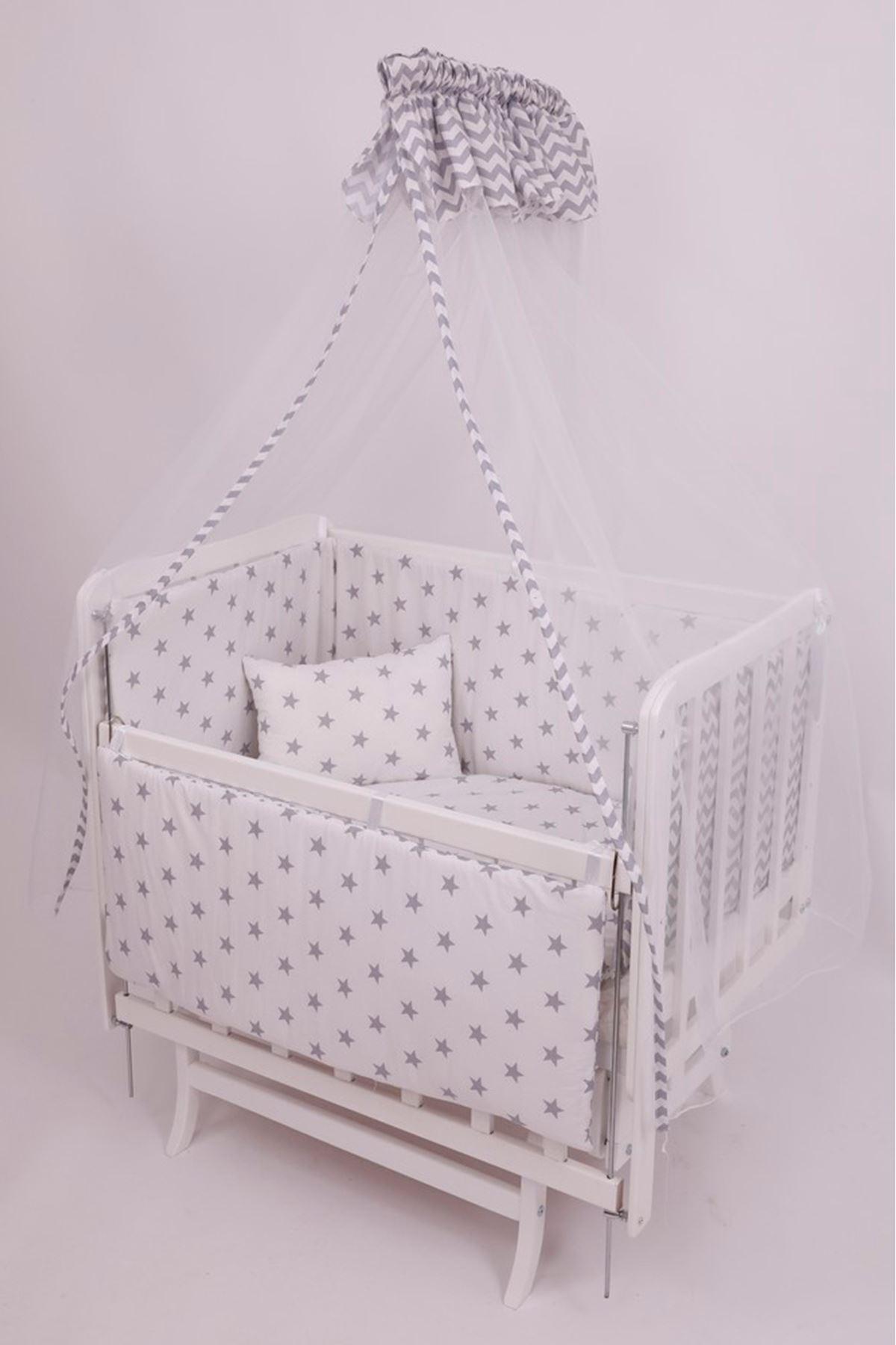 Gri Zigzaglı Uyku Seti ile Beyaz Anne Yanı Beşik