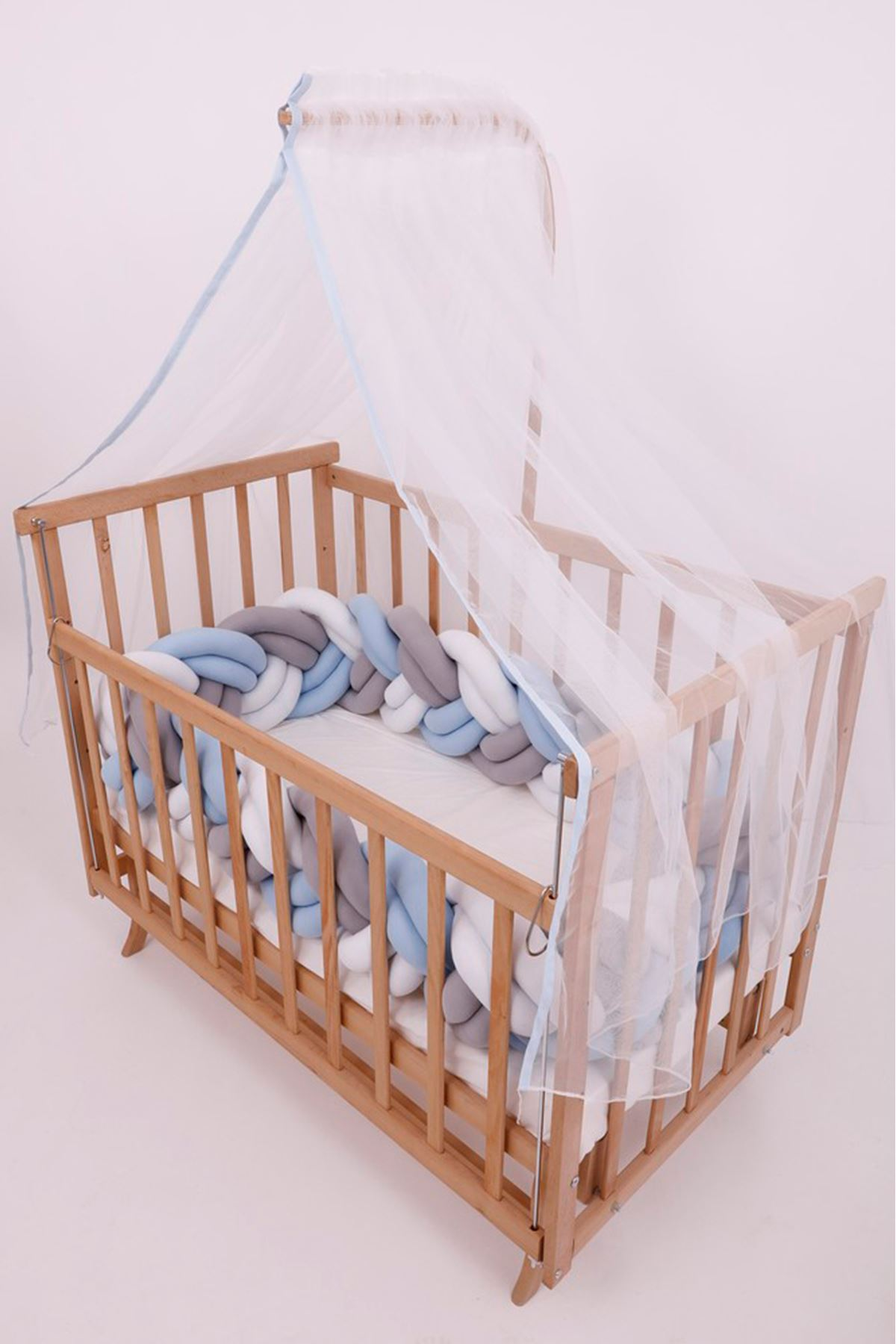 سرير خشبي مستطيل 5 سنوات جدله أزرق دبل
