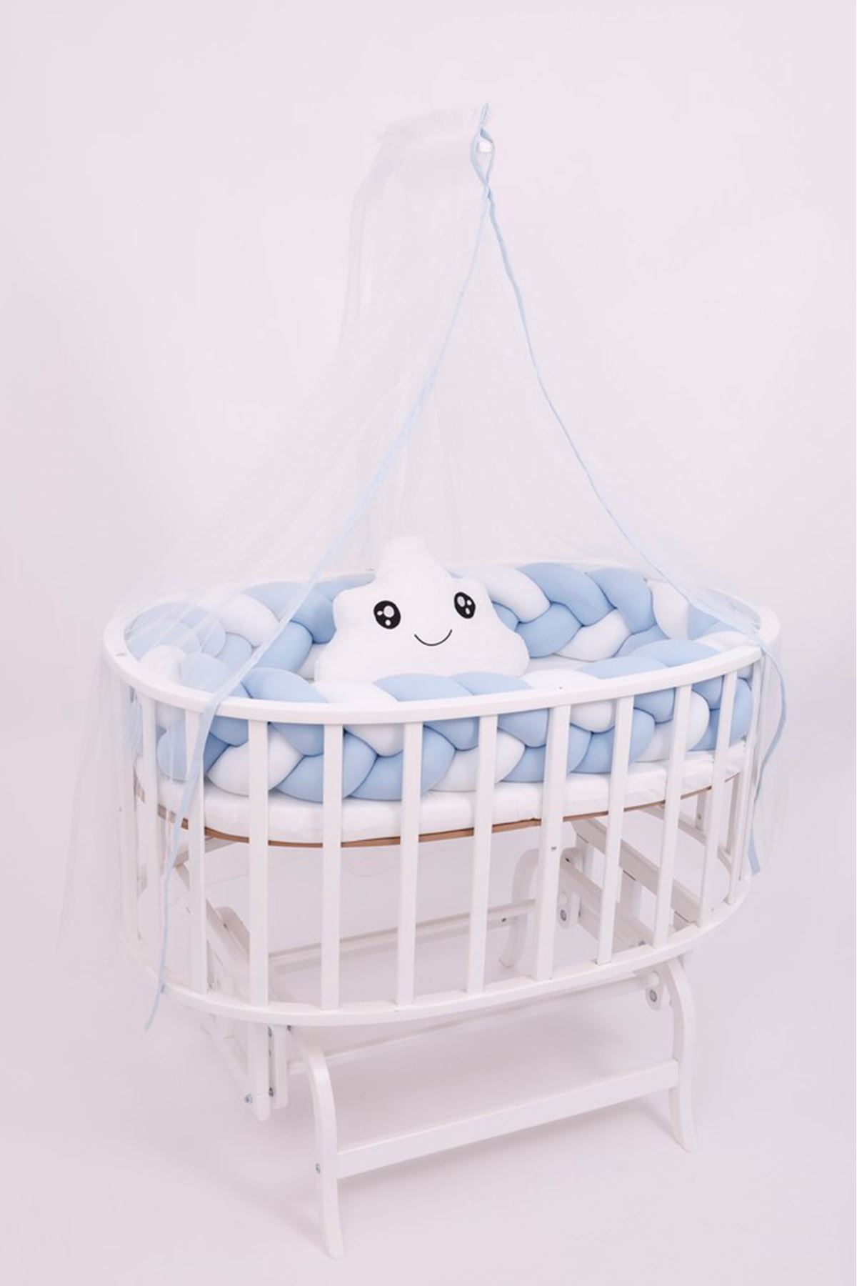 "Knit Protection for Crib ""Blue"""
